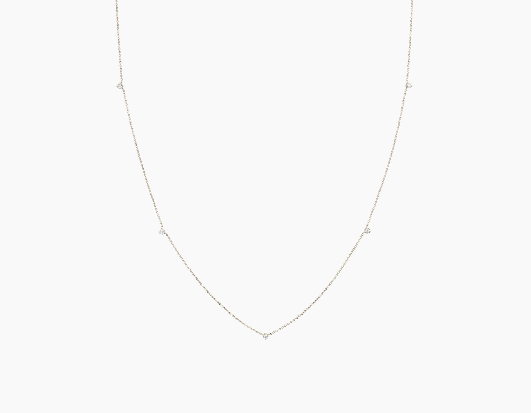 Vrai Tiny Diamond Station Necklace simple modern, 14K White Gold