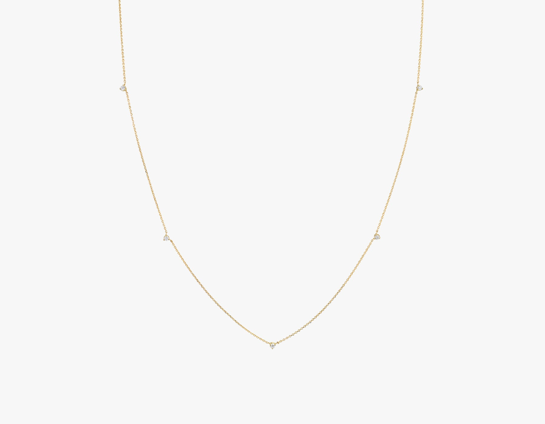 Vrai Tiny Diamond Station Necklace simple modern, 14K Yellow Gold