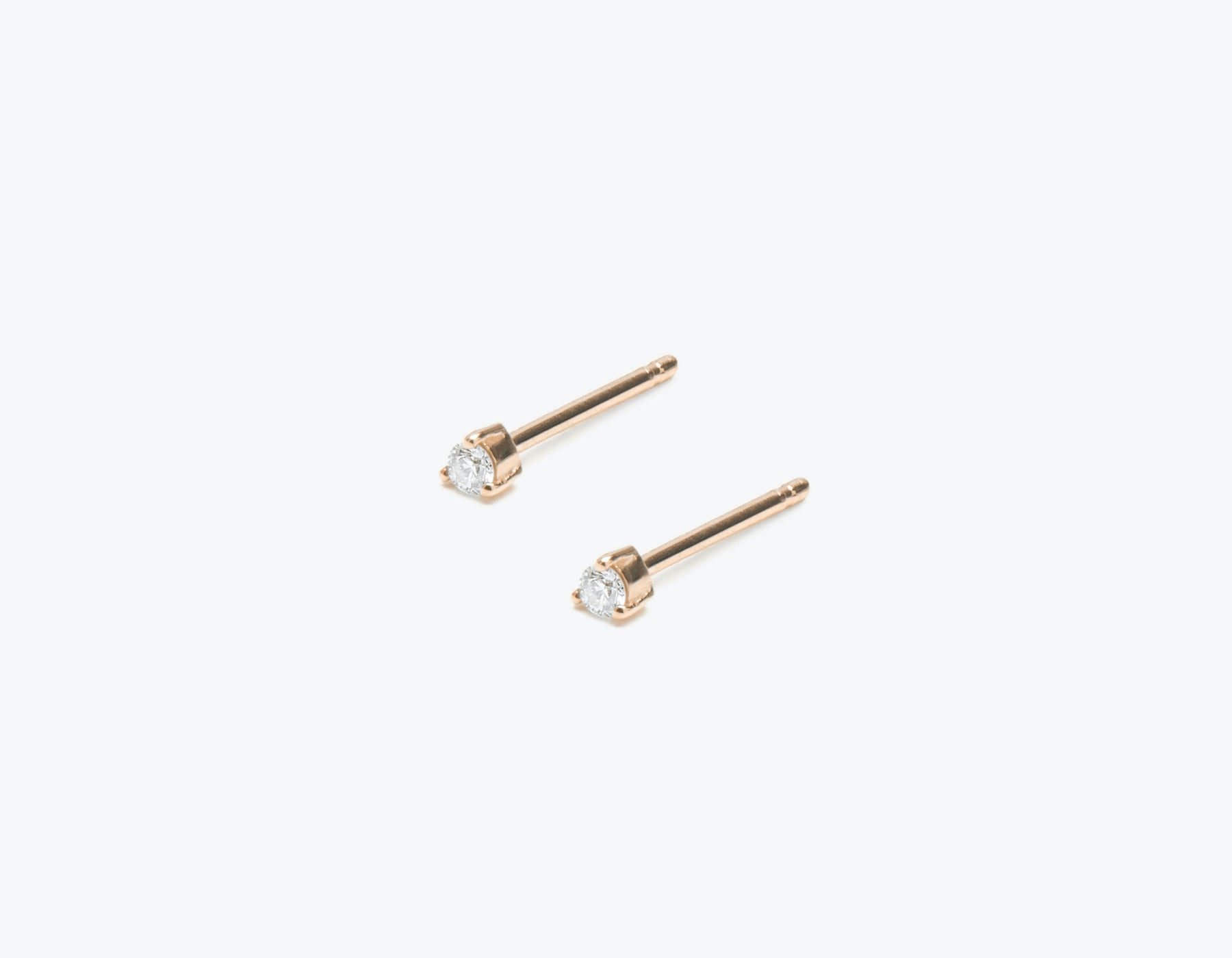 Small Diamond Stud earring .02 carat round diamond 14k solid gold Vrai & Oro, 14K Rose Gold