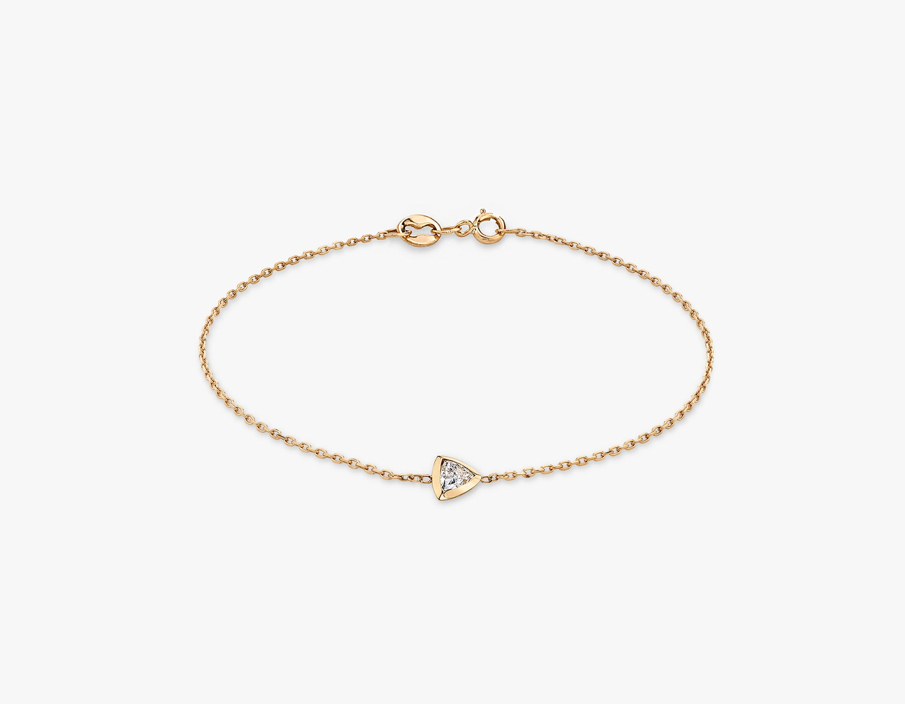 Vrai simple minimalist Trillion Diamond Bezel Bracelet, 14K Rose Gold
