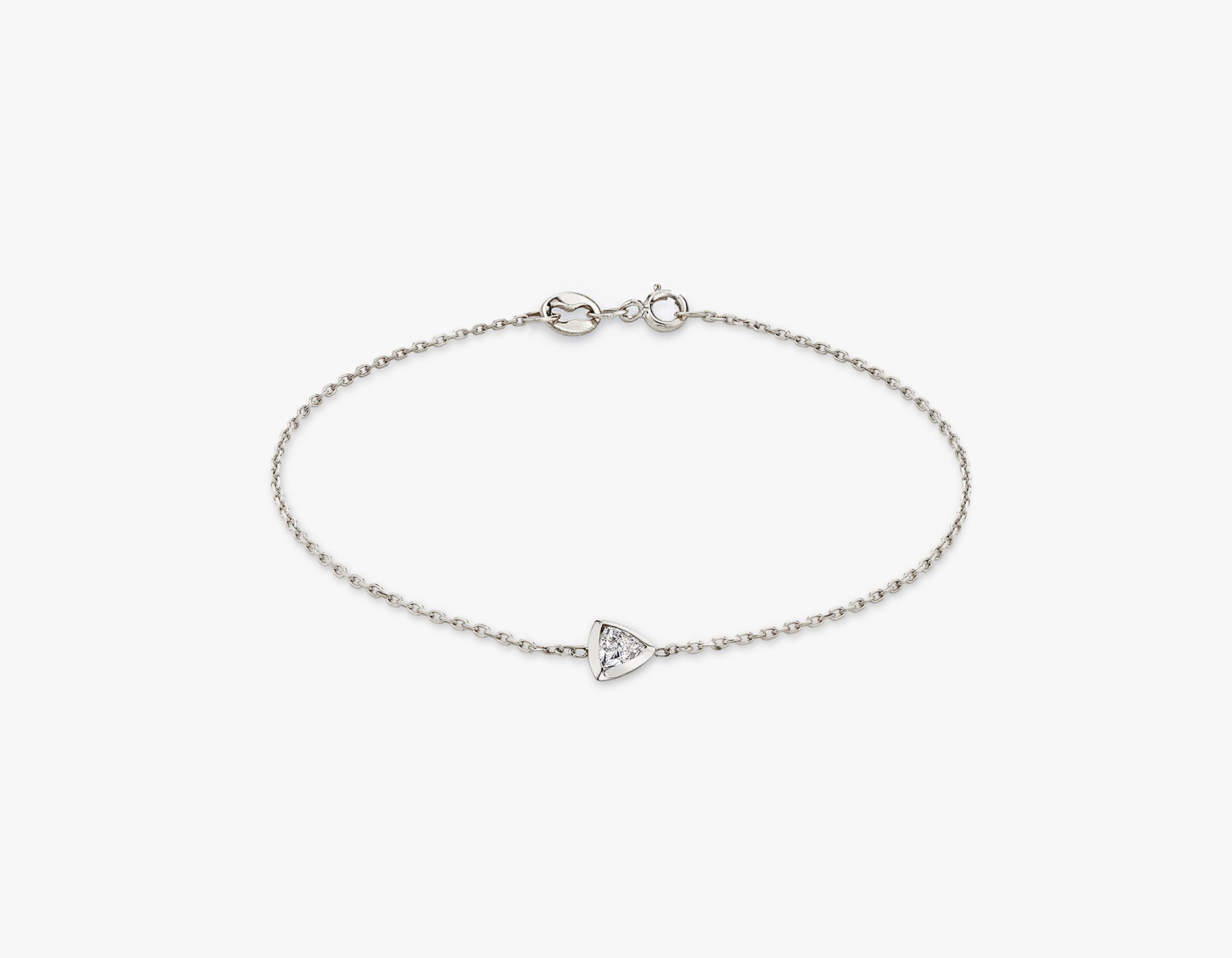 Vrai simple minimalist Trillion Diamond Bezel Bracelet, 14K White Gold