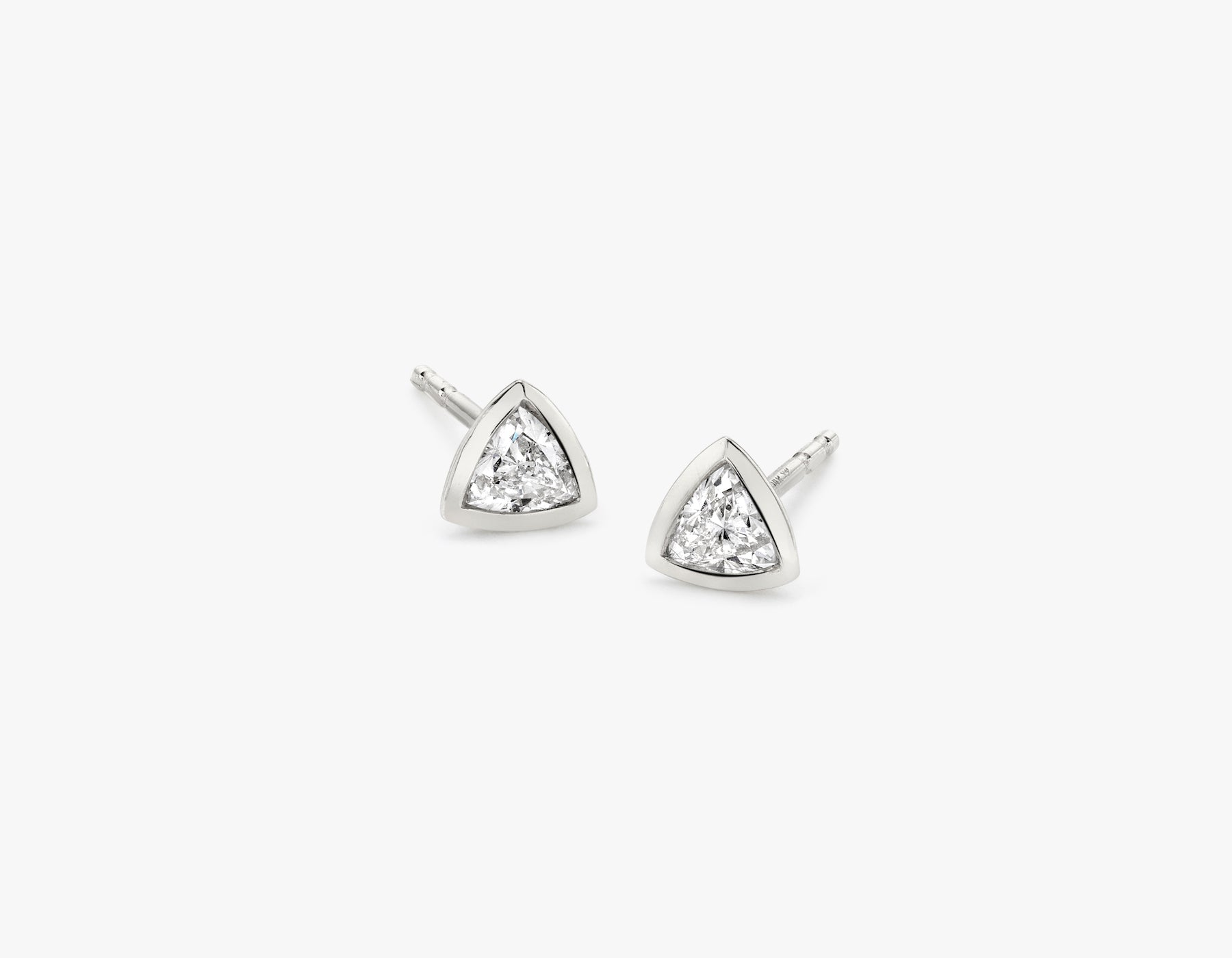 Vrai simple minimalist Trillion Diamond Bezel Earrings, 14K White Gold