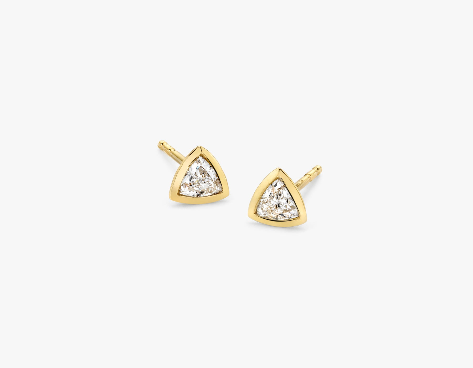 Vrai simple minimalist Trillion Diamond Bezel Earrings, 14K Yellow Gold