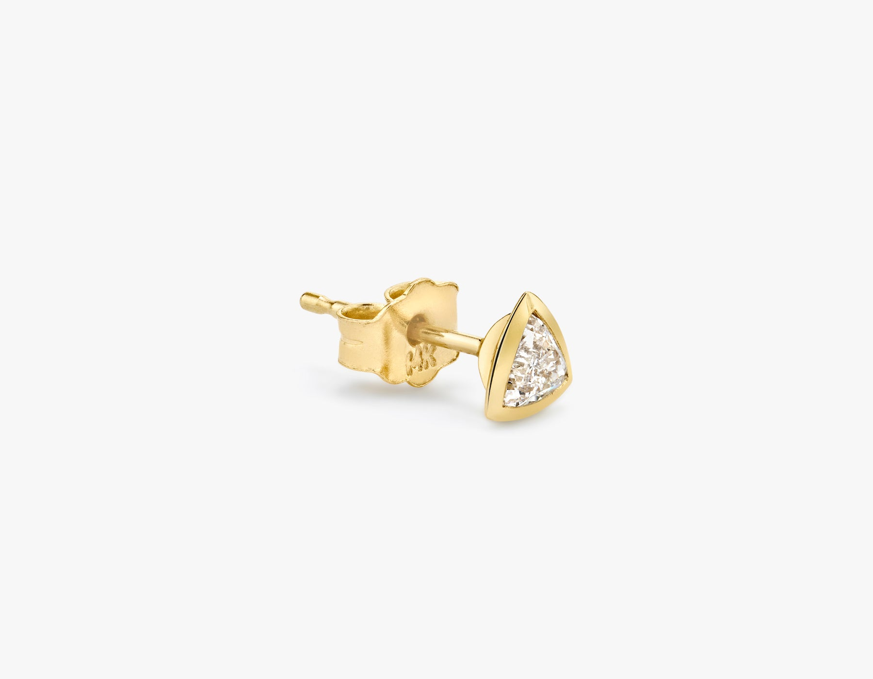 Vrai classic minimalist Trillion Diamond Bezel Stud Earring, 14K Yellow Gold