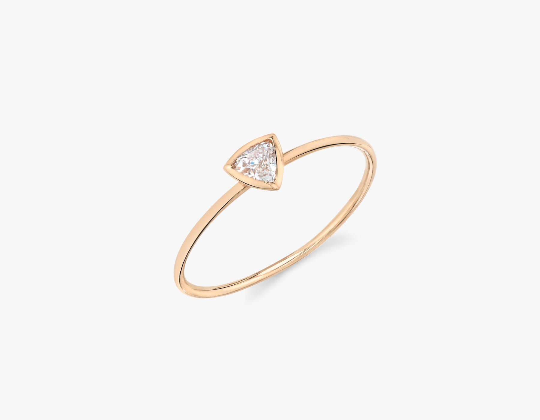 Vrai simple minimalist Trillion Diamond Bezel Ring, 14K Rose Gold