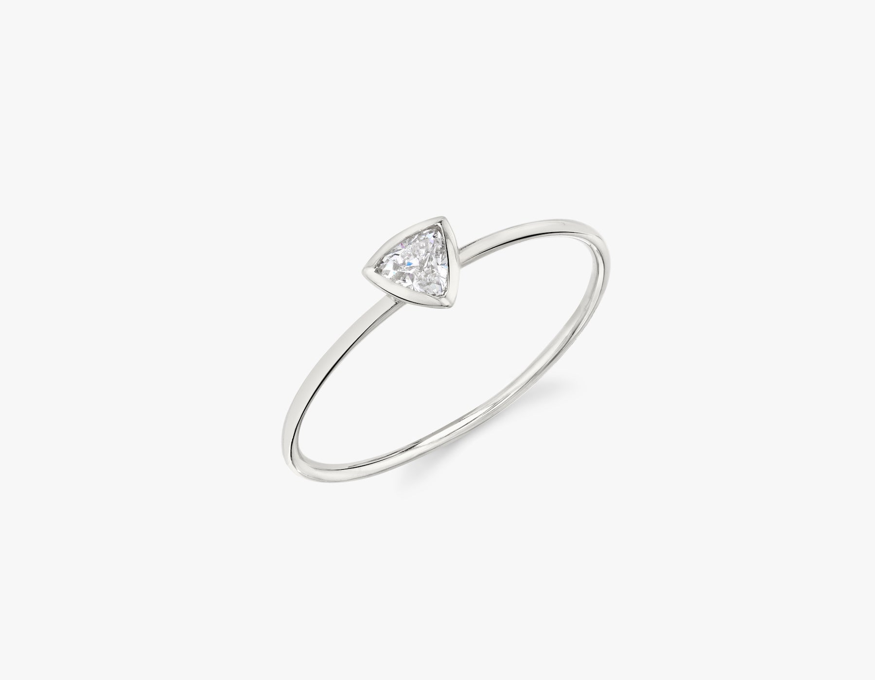 Vrai simple minimalist Trillion Diamond Bezel Ring, 14K White Gold