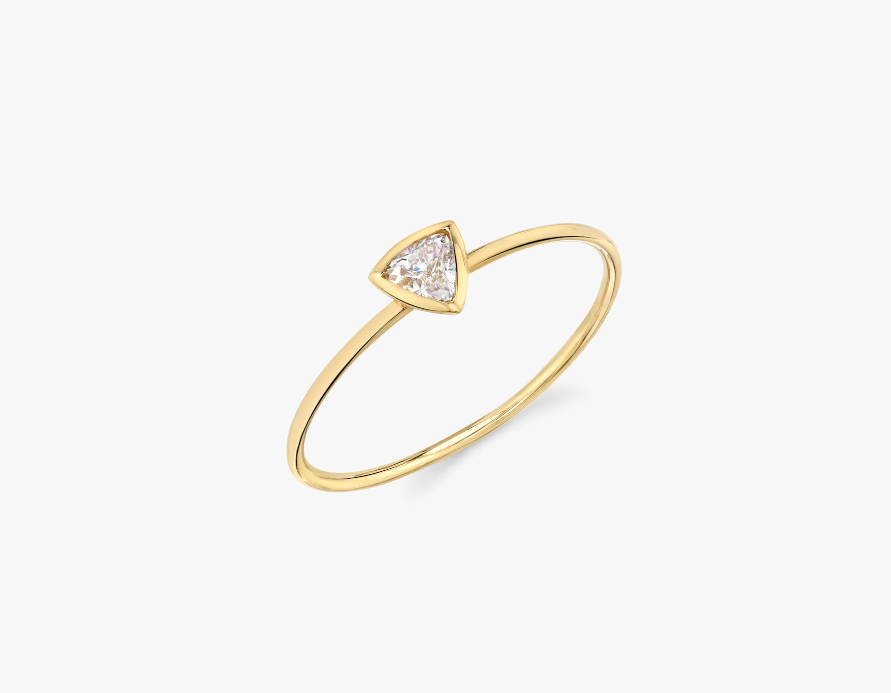 Vrai simple minimalist Trillion Diamond Bezel Ring, 14K Yellow Gold