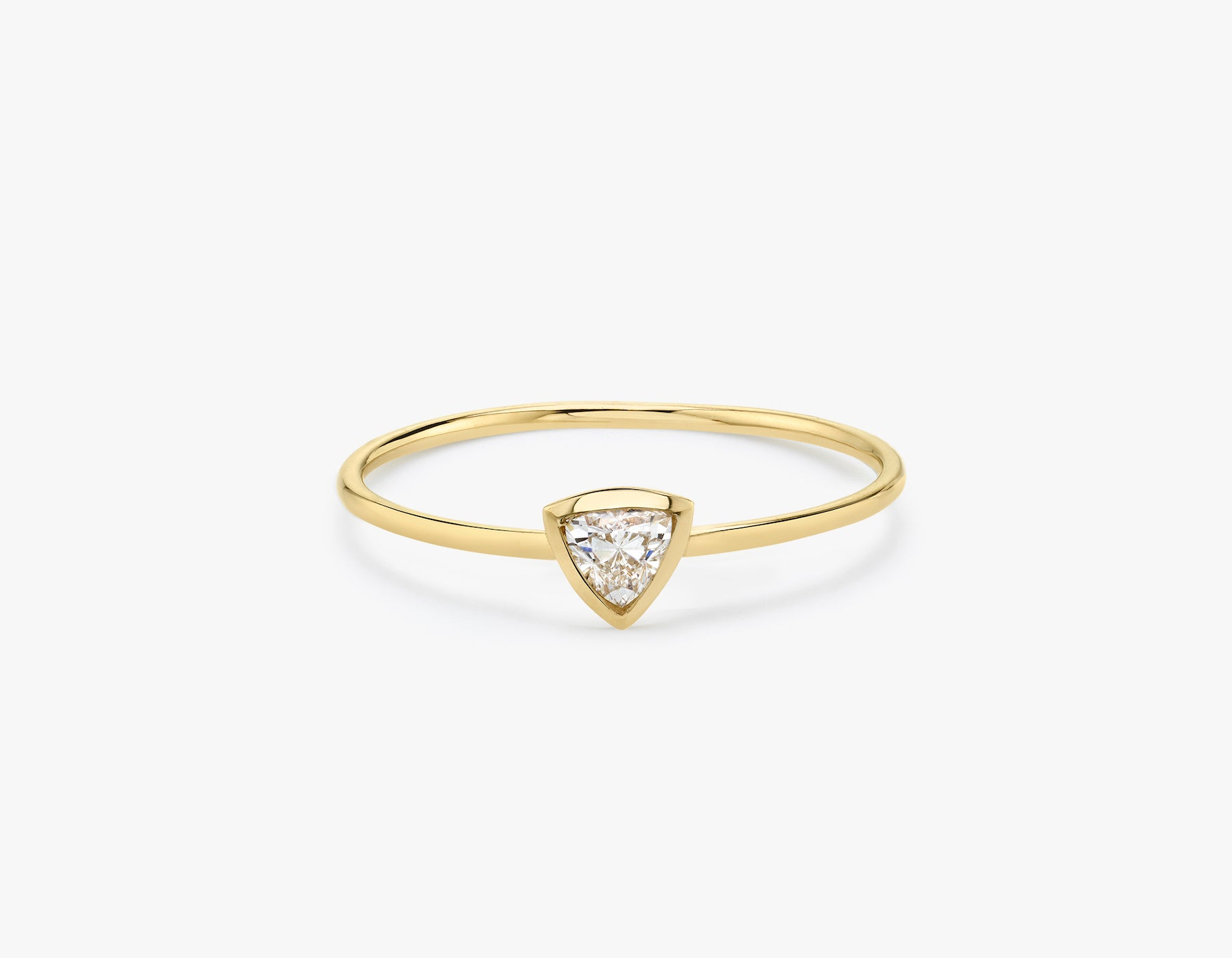 Vrai classic minimalist Trillion Diamond Bezel Ring, 14K Yellow Gold