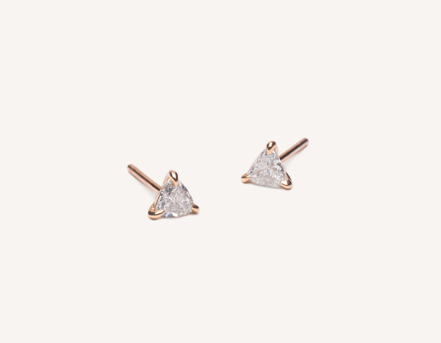 Modern delicate 14k solid gold .34 carat Trillion Diamond Earrings by Vrai & Oro, 14K Rose Gold