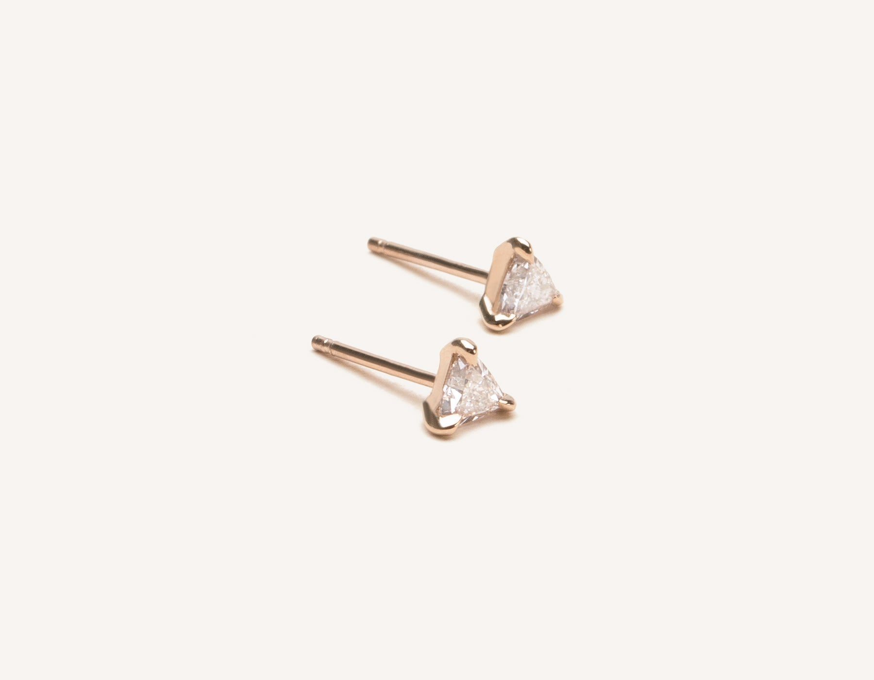 Elegant minimalist 14k solid gold triangle Trillion Diamond Earring studs by Vrai and Oro, 14K Rose Gold
