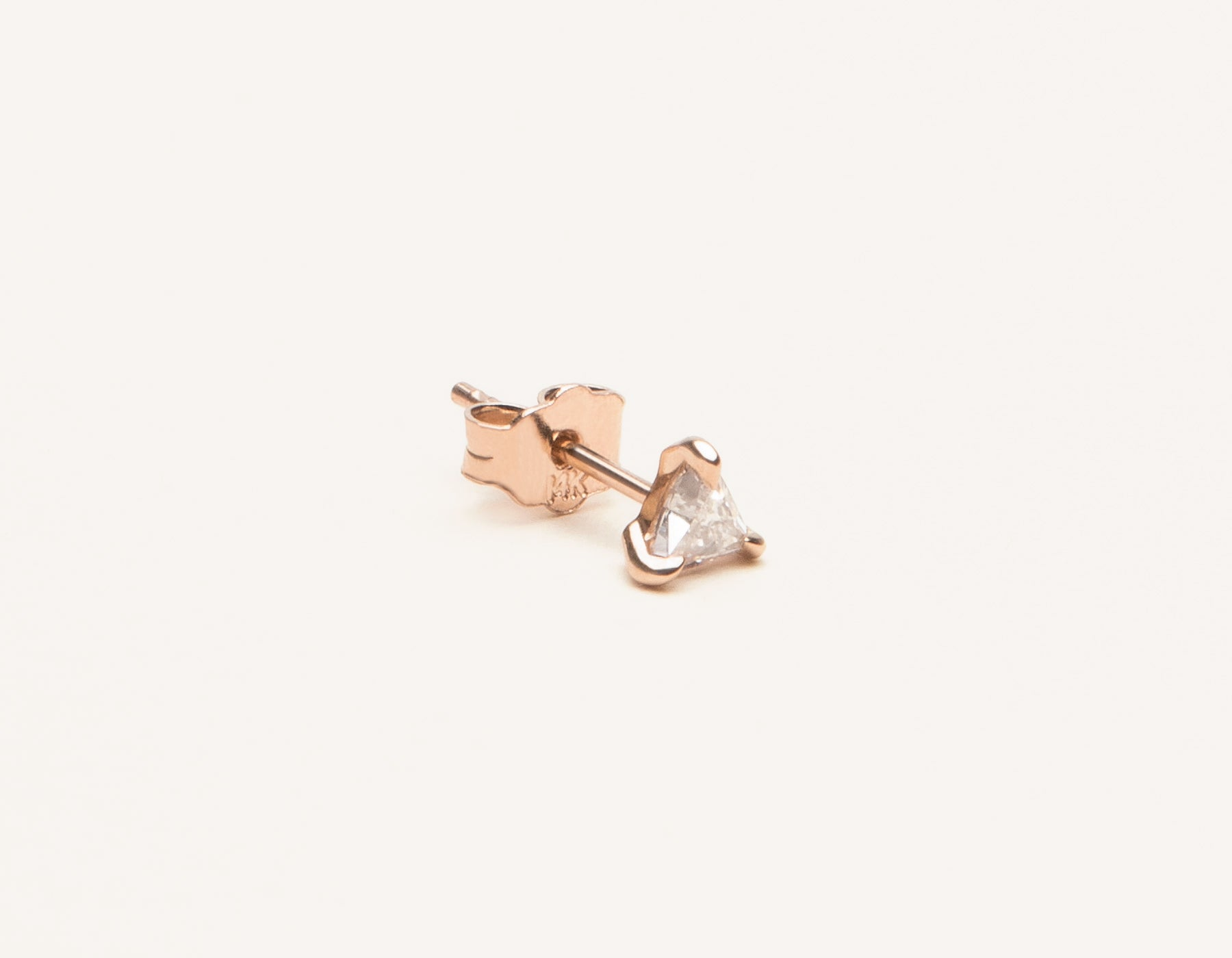 Simple unique 14k solid gold Trillion Diamond Stud Earring by Vrai and Oro, 14K Rose Gold