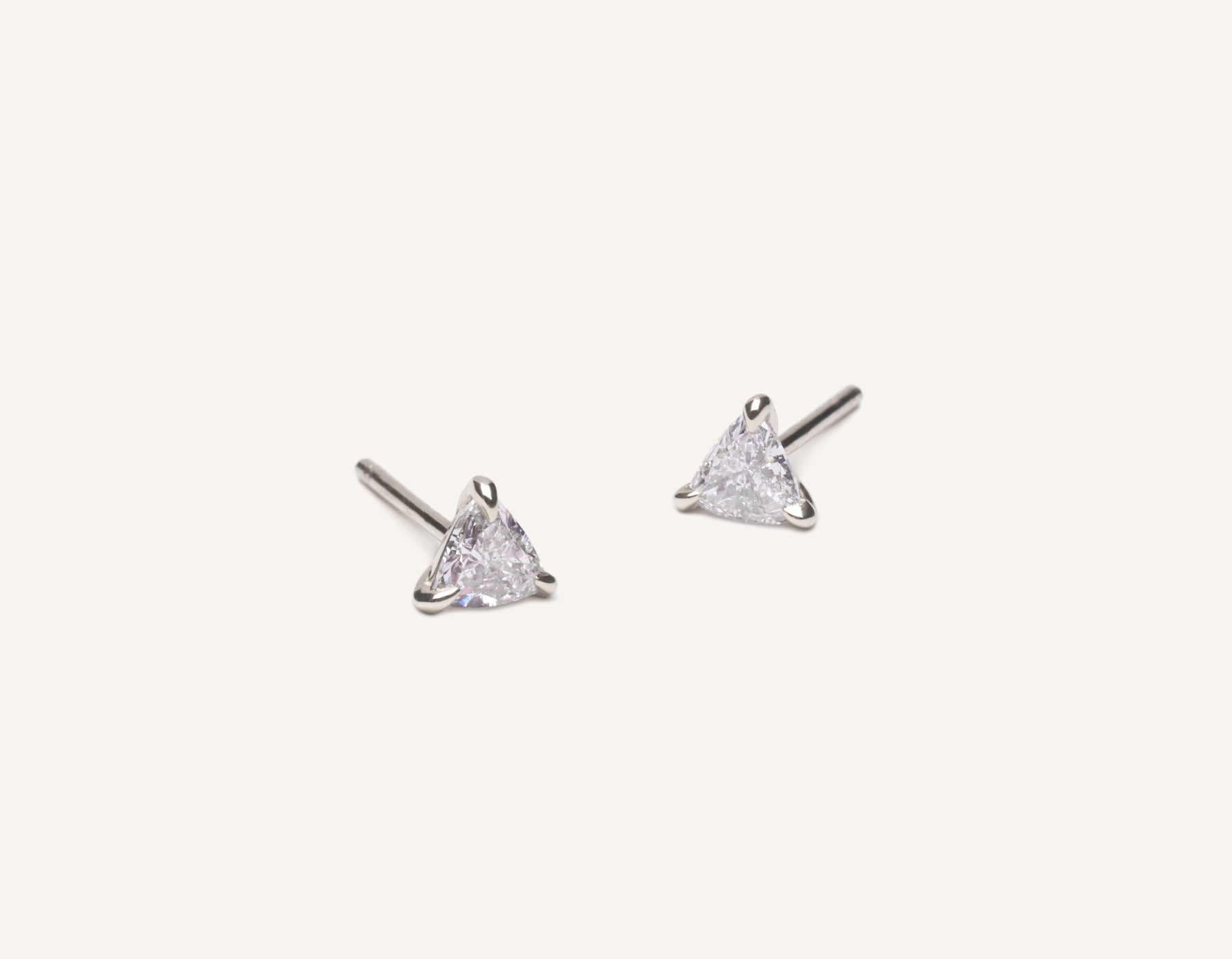 Modern delicate 14k solid gold .34 carat Trillion Diamond Earrings by Vrai & Oro, 14K White Gold