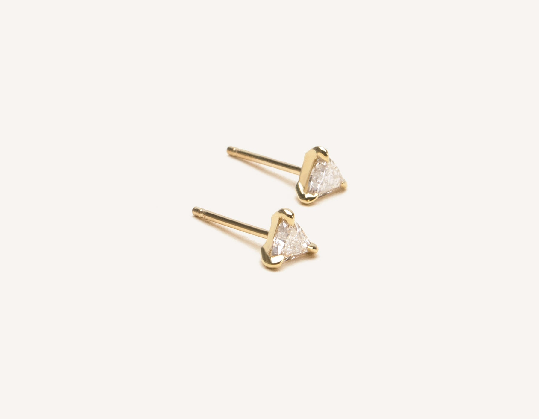 Elegant minimalist 14k solid gold triangle Trillion Diamond Earring studs by Vrai and Oro, 14K Yellow Gold