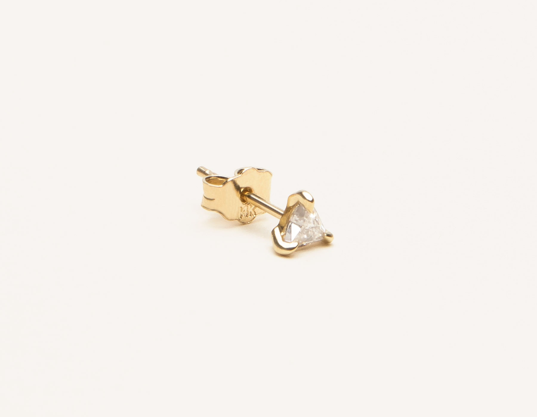Simple unique 14k solid gold Trillion Diamond Stud Earring by Vrai and Oro, 14K Yellow Gold