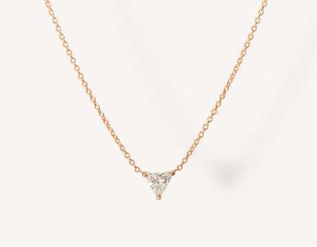 unique geometric 14k solid gold .17 carat Trillion Diamond Necklace on dainty chain by Vrai and Oro minimalist jewelry, 14K Rose Gold