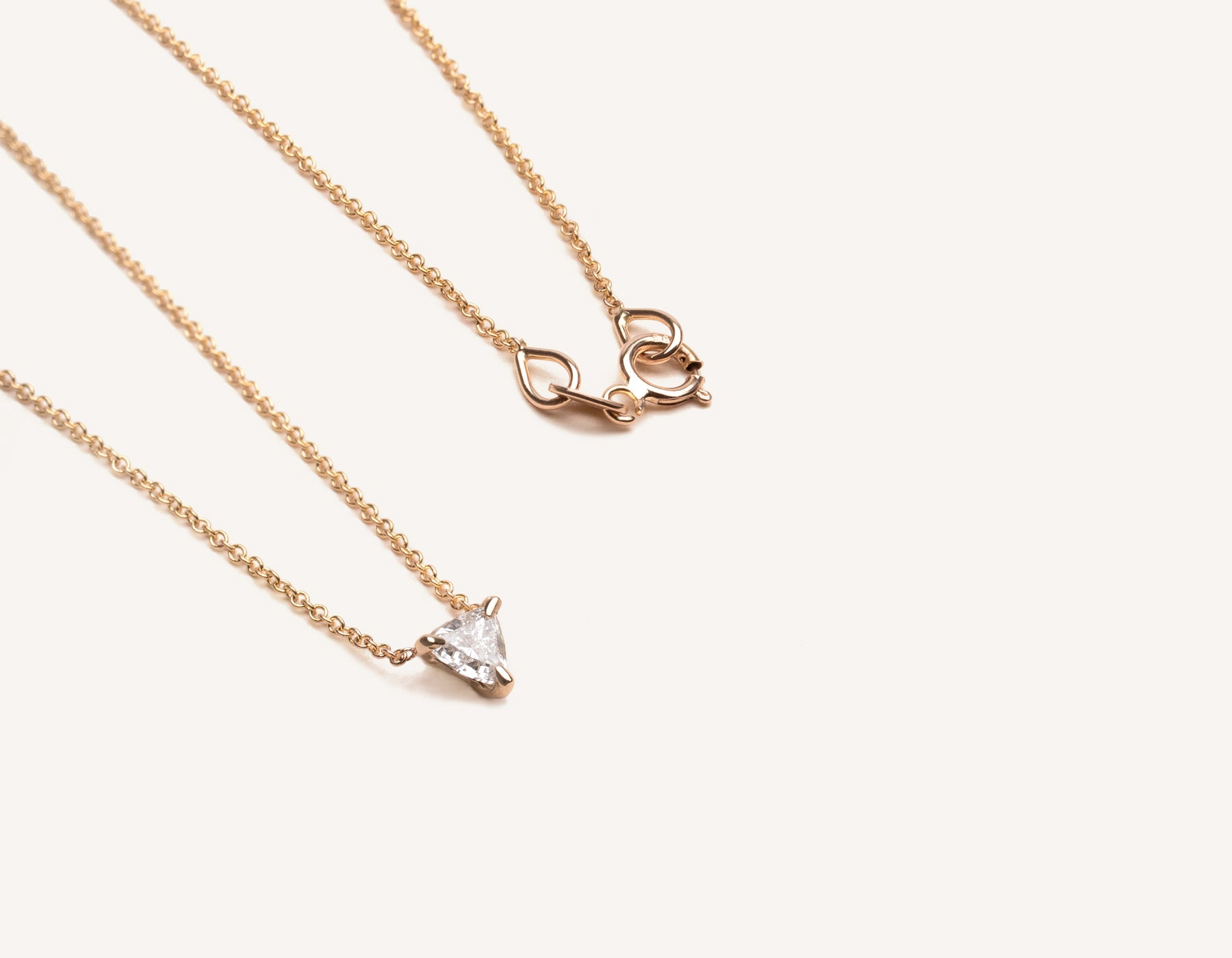 simple unique 14k solid gold .17 ct Trillion Diamond Necklace on delicate chain by Vrai & Oro modern jewelry, 14K Rose Gold