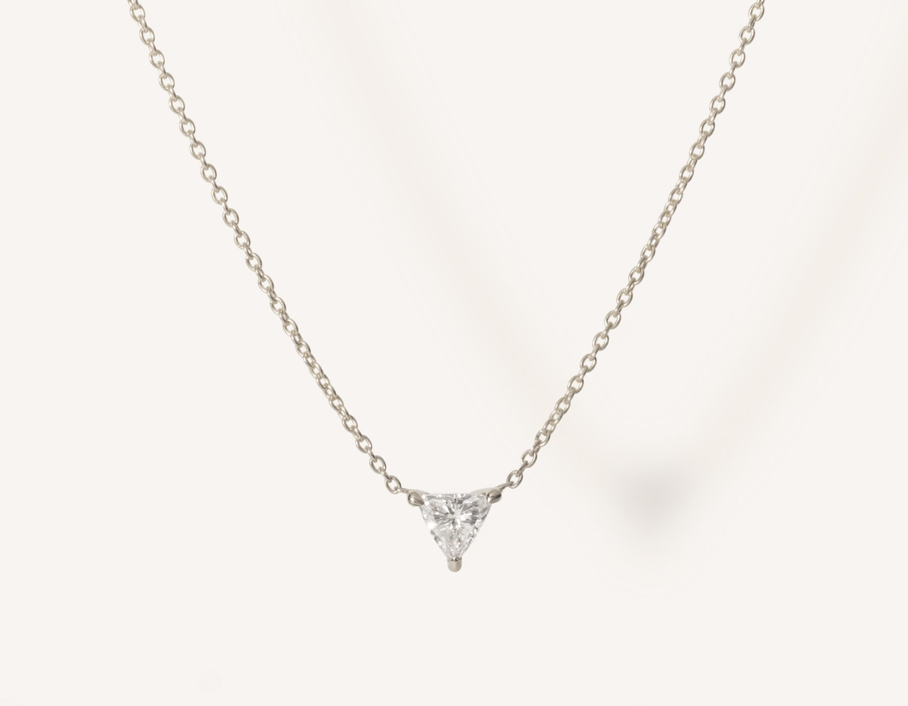 unique geometric 14k solid gold .17 carat Trillion Diamond Necklace on dainty chain by Vrai and Oro minimalist jewelry, 14K White Gold