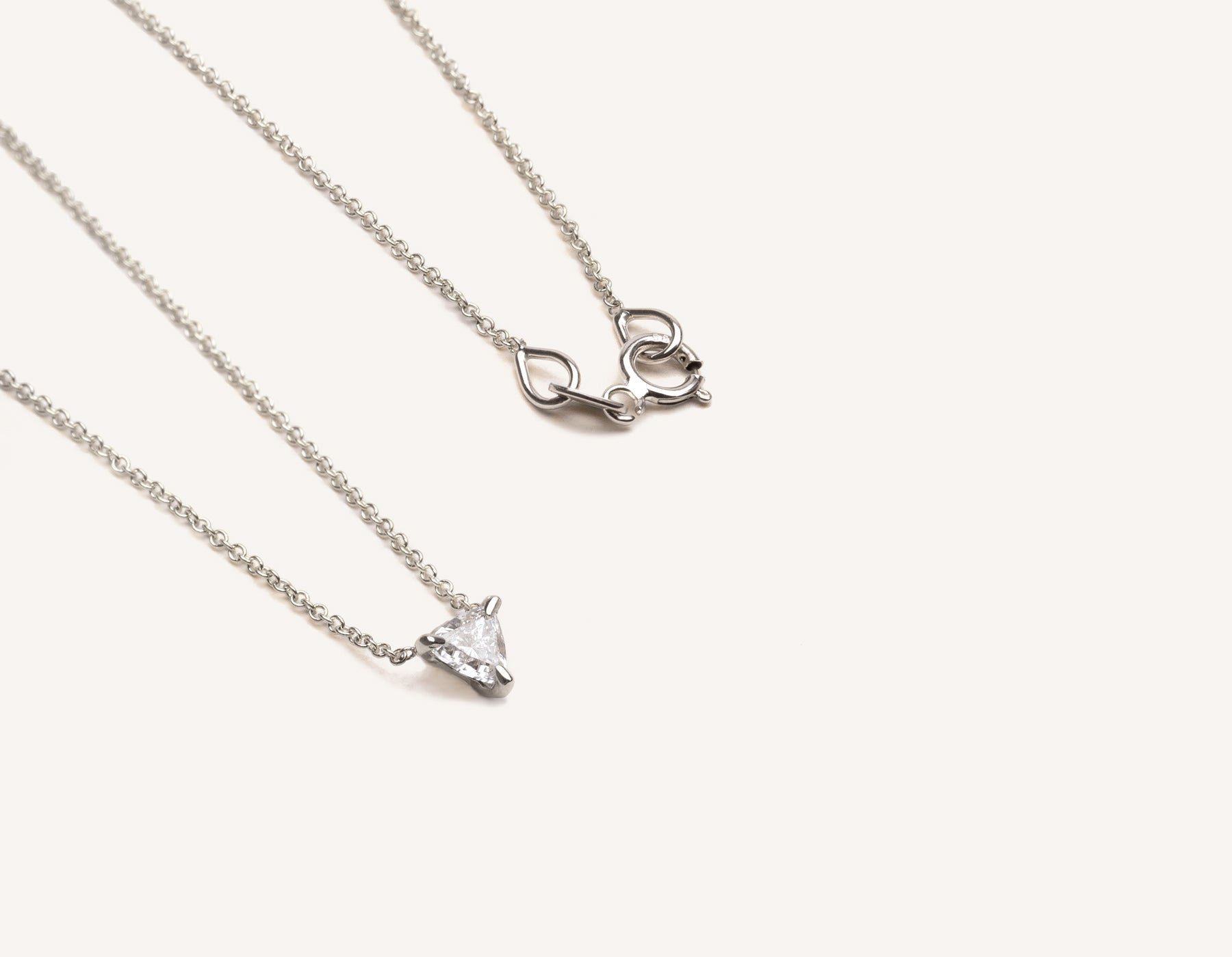 simple unique 14k solid gold .17 ct Trillion Diamond Necklace on delicate chain by Vrai & Oro modern jewelry, 14K White Gold