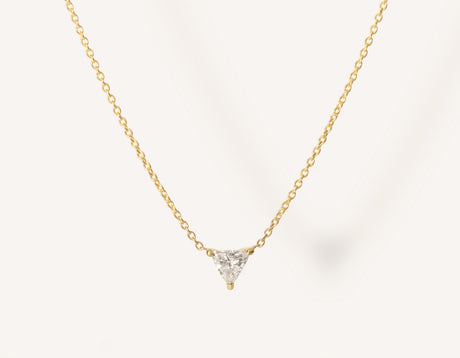 unique geometric 14k solid gold .17 carat Trillion Diamond Necklace on dainty chain by Vrai and Oro minimalist jewelry, 14K Yellow Gold
