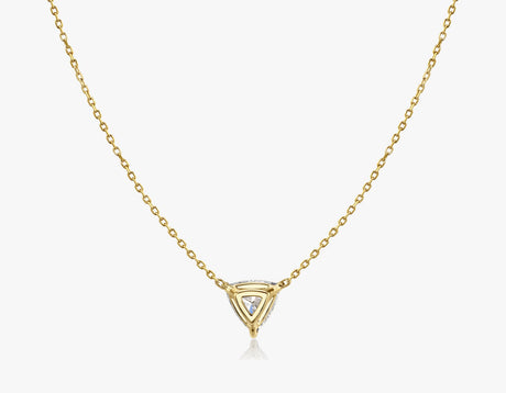 Vrai 14k solid gold Solitaire Trillion Diamond Necklace sustainably created triangle diamond prong set on simple chain back view, 14K Yellow Gold
