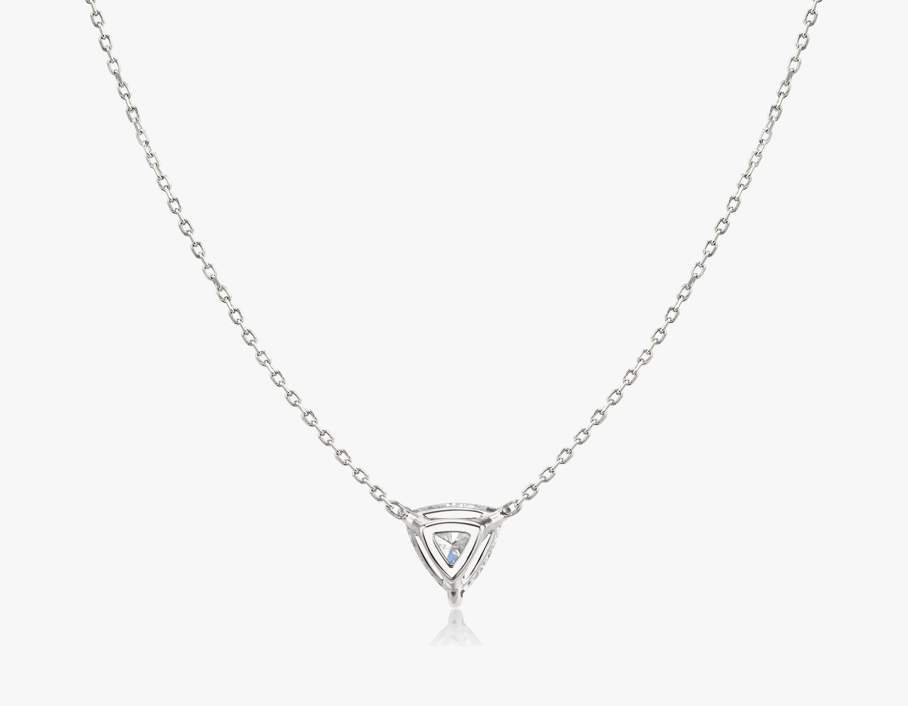 Vrai 14k solid gold Solitaire Trillion Diamond Necklace sustainably created triangle diamond prong set on simple chain back view, 14K White Gold