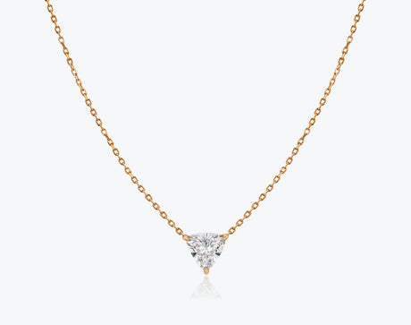 Vrai 14k solid gold Solitaire Trillion Diamond Necklace sustainably created triangle diamond prong set on simple chain, 14K Rose Gold