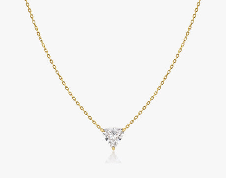 Vrai 14k solid gold Solitaire Trillion Diamond Necklace sustainably created triangle diamond prong set on simple chain, 14K Yellow Gold