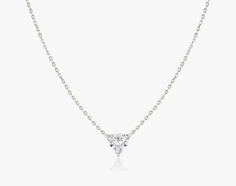 Vrai 14k solid gold Solitaire Trillion Diamond Necklace sustainably created triangle diamond prong set on simple chain, 14K White Gold