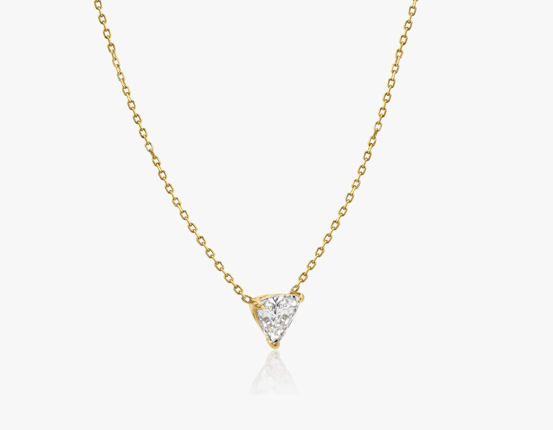 Vrai 14k solid gold Solitaire Trillion Diamond Necklace sustainably created triangle diamond prong set on simple chain side view, 14K Yellow Gold