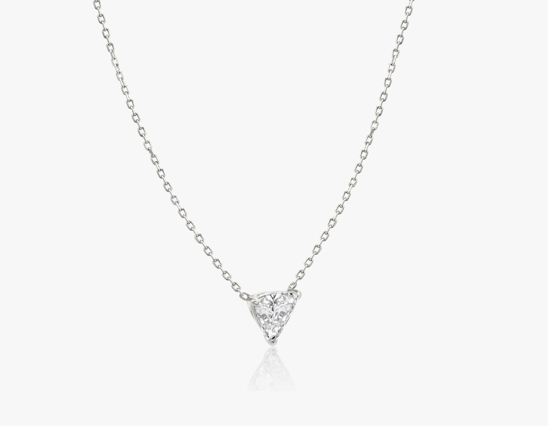 Vrai 14k solid gold Solitaire Trillion Diamond Necklace sustainably created triangle diamond prong set on simple chain side view, 14K White Gold