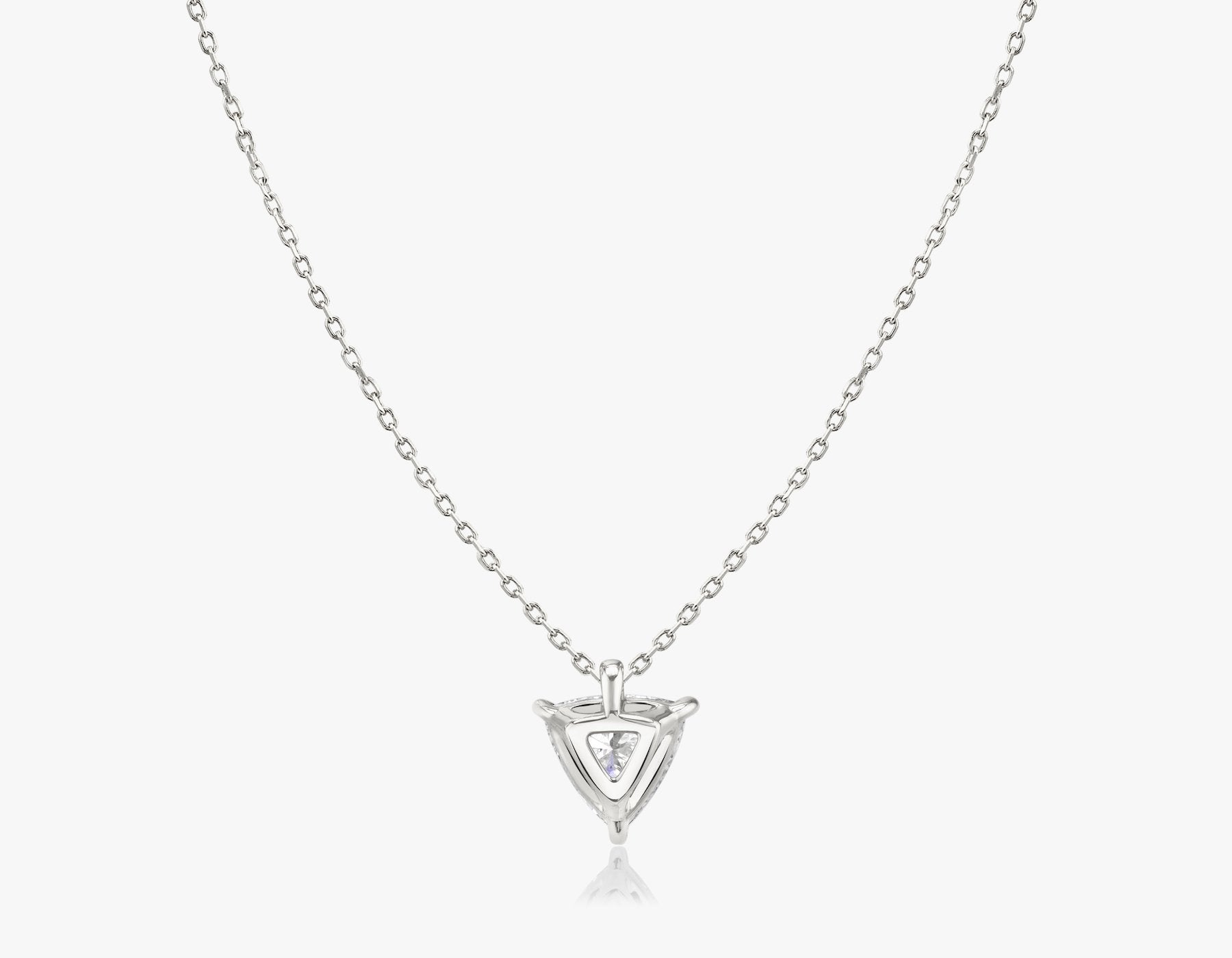 Vrai 14k solid gold Solitaire Trillion Diamond Pendant sustainably created triangle diamond prong set on simple chain necklace back view, 14K White Gold
