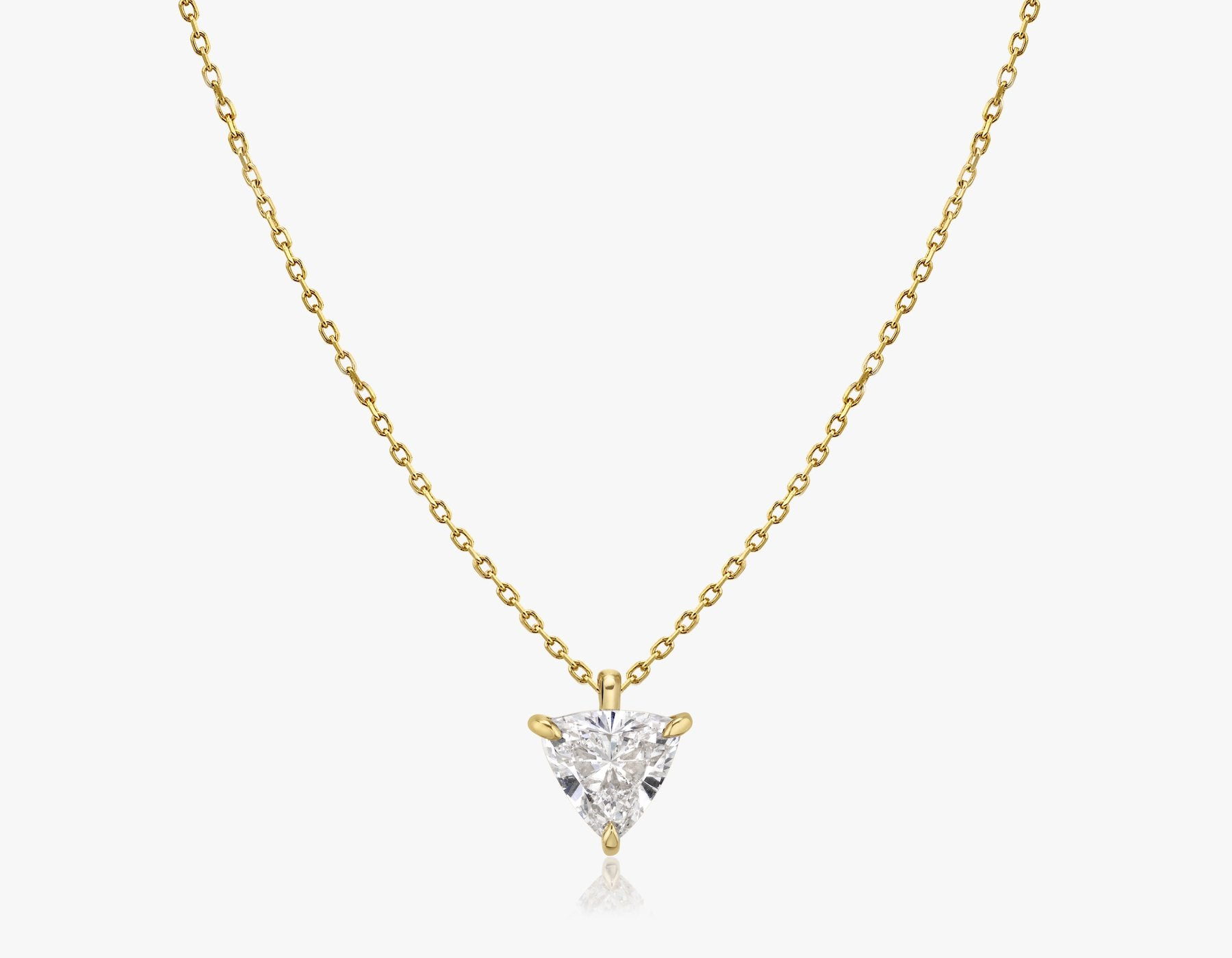 Vrai 14k solid gold Solitaire Trillion Diamond Pendant sustainably created triangle diamond prong set on simple chain necklace, 14K Yellow Gold