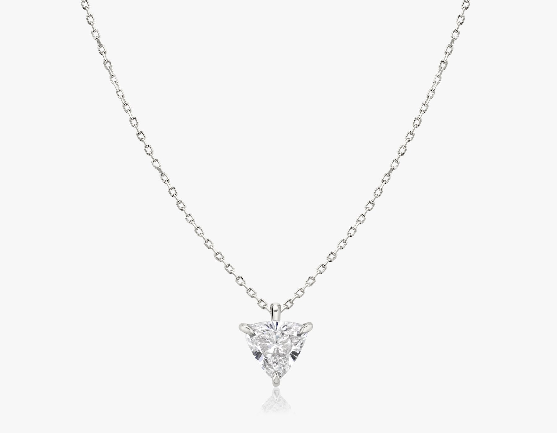 Vrai 14k solid gold Solitaire Trillion Diamond Pendant sustainably created triangle diamond prong set on simple chain necklace, 14K White Gold