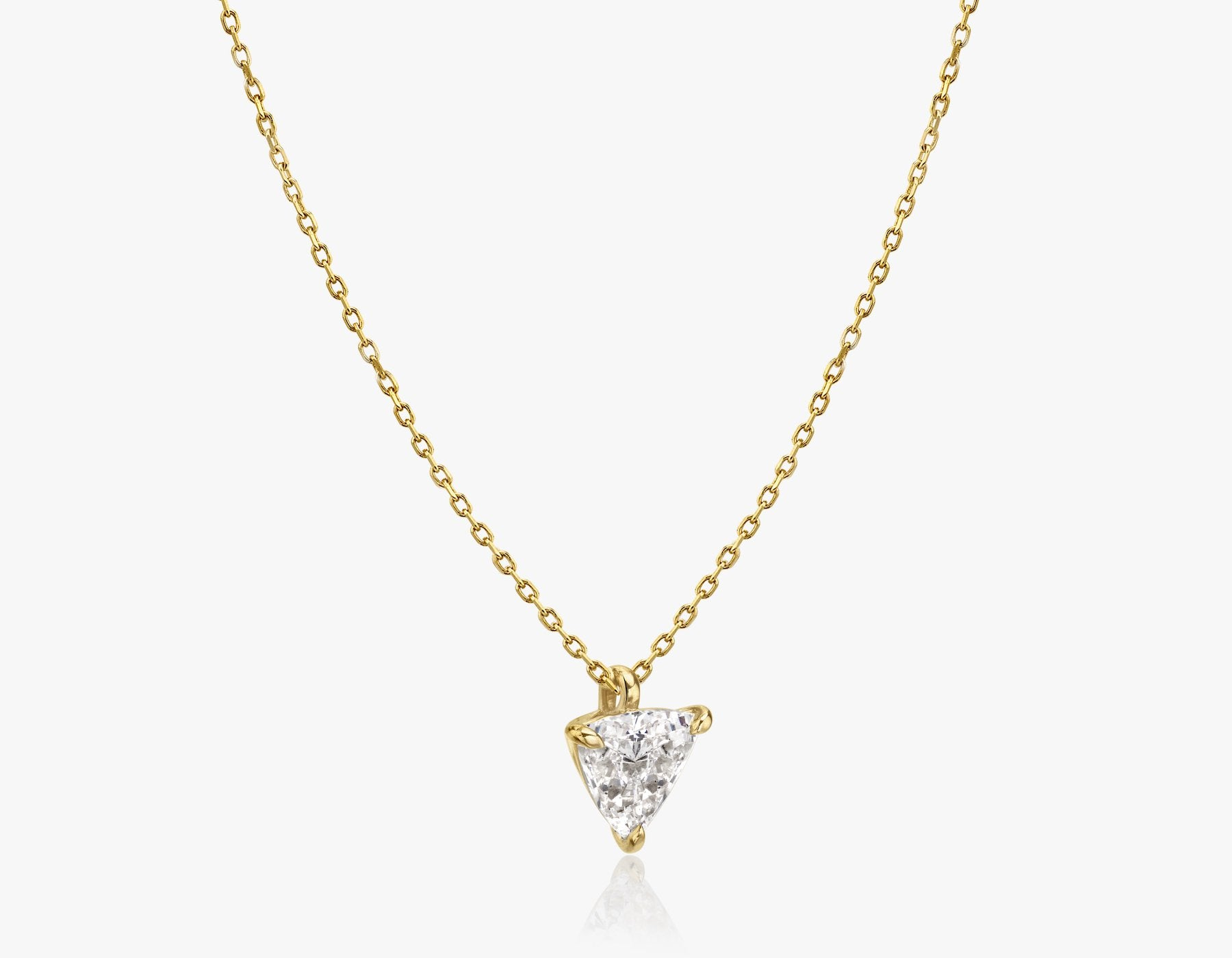 Vrai 14k solid gold Solitaire Trillion Diamond Pendant sustainably created triangle diamond prong set on simple chain necklace side view, 14K Yellow Gold
