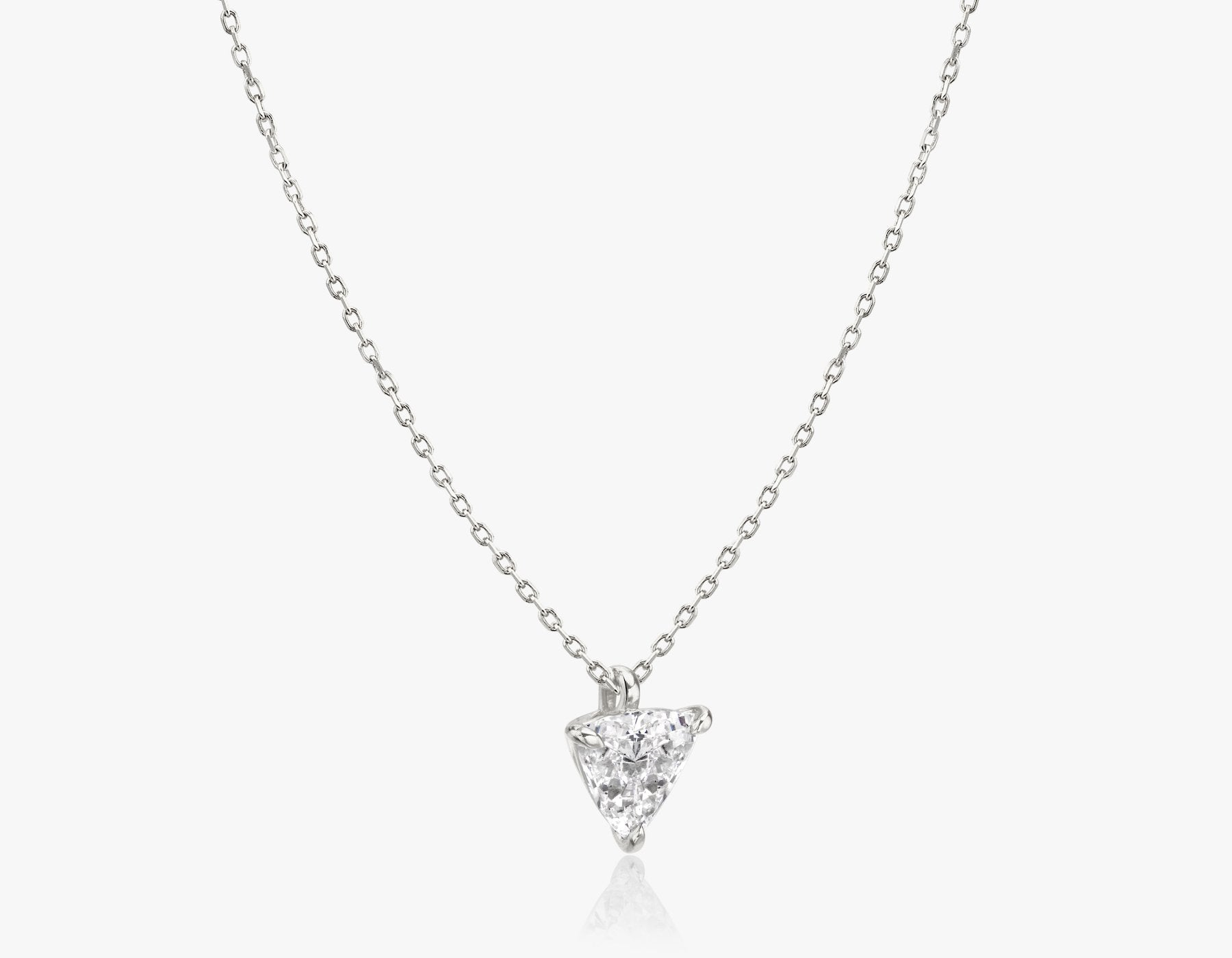 Vrai 14k solid gold Solitaire Trillion Diamond Pendant sustainably created triangle diamond prong set on simple chain necklace side view, 14K White Gold