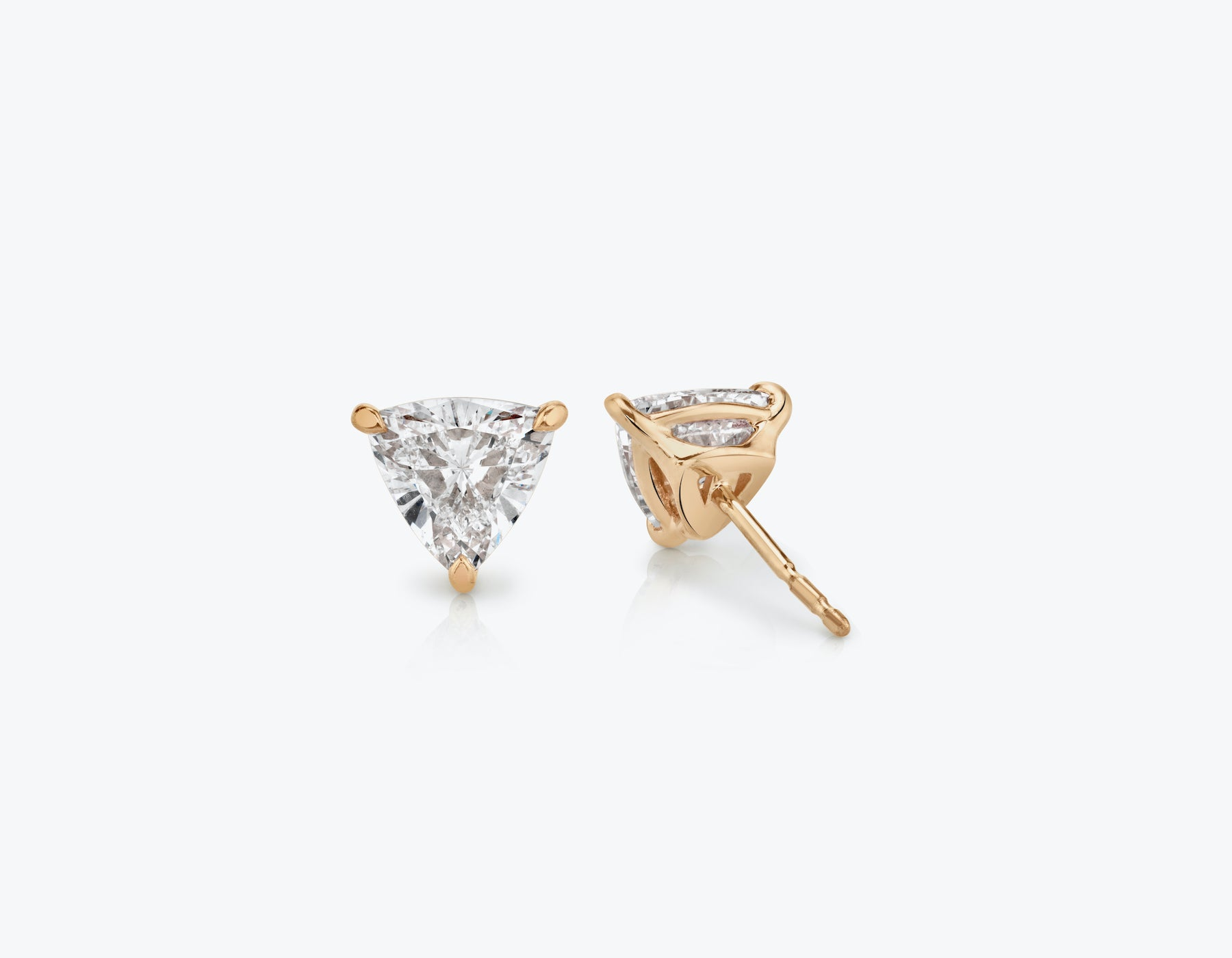 Vrai 14k solid gold Solitaire Trillion Diamond Studs sustainably created triangle diamonds prong set earrings back view, 14K Rose Gold