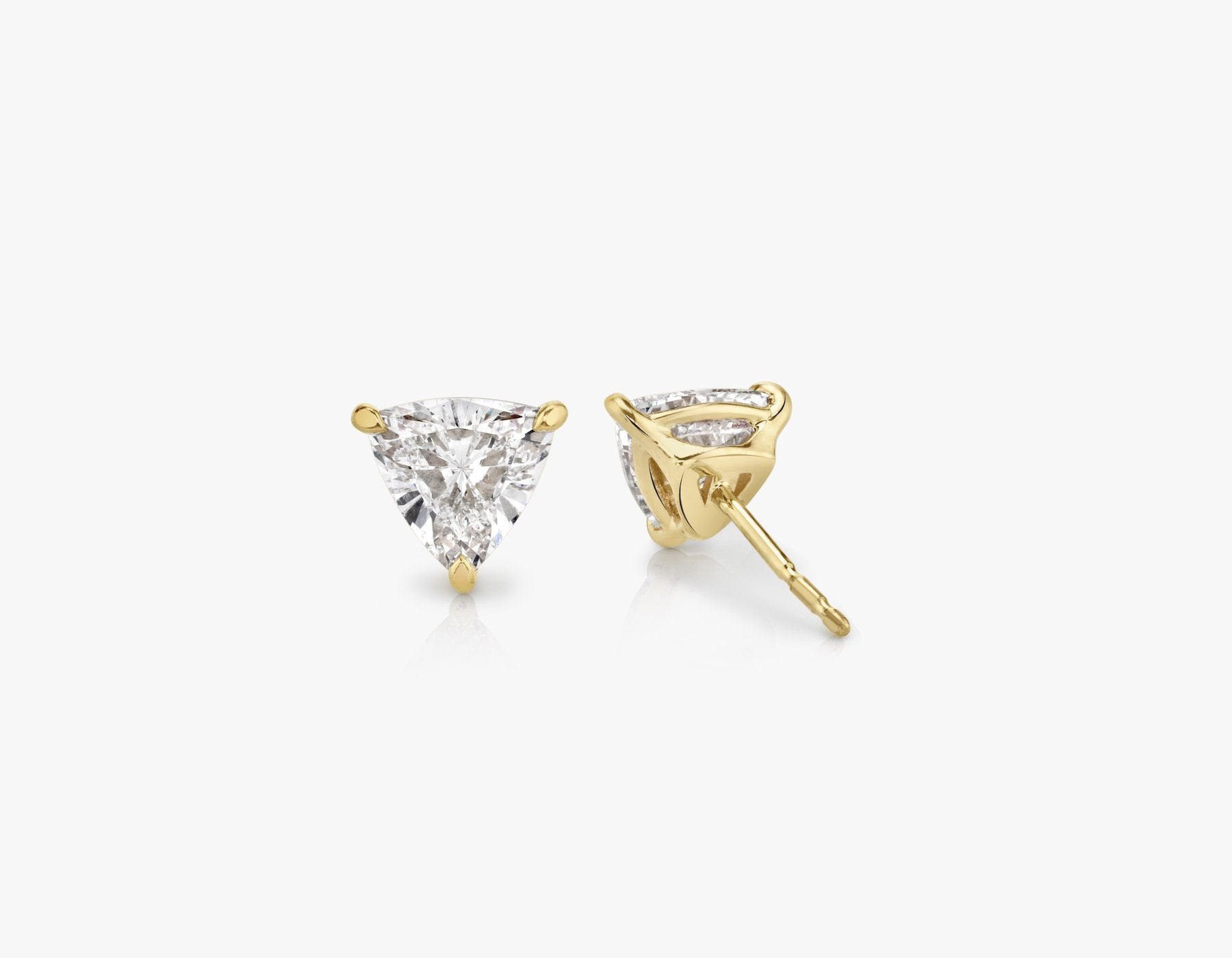 Vrai 14k solid gold Solitaire Trillion Diamond Studs sustainably created triangle diamonds prong set earrings back view, 14K Yellow Gold