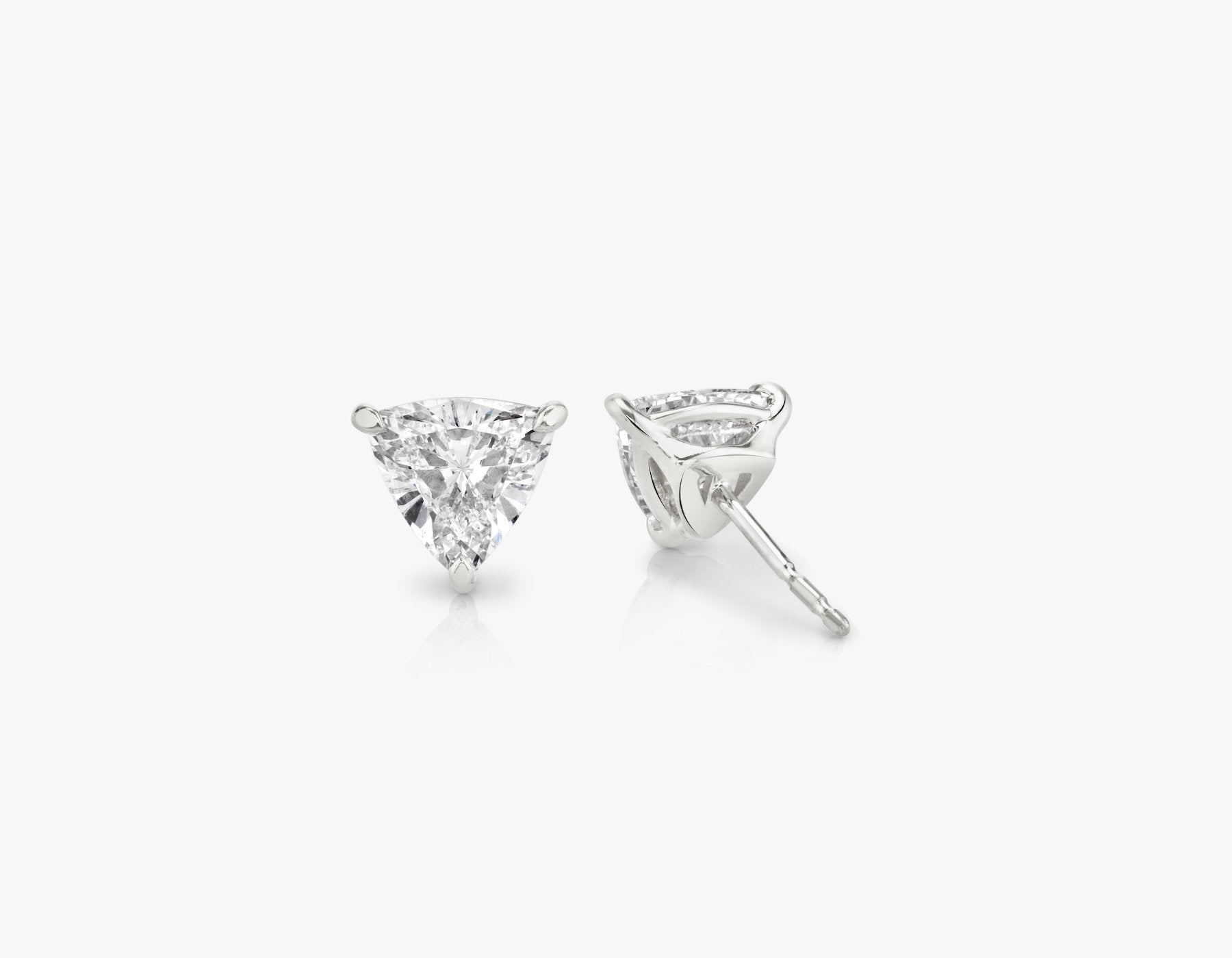 Vrai 14k solid gold Solitaire Trillion Diamond Studs sustainably created triangle diamonds prong set earrings back view, 14K White Gold