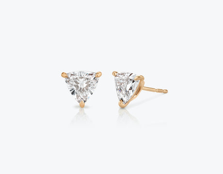 Vrai 14k solid gold Solitaire Trillion Diamond Studs sustainably created triangle diamonds prong set earrings, 14K Rose Gold