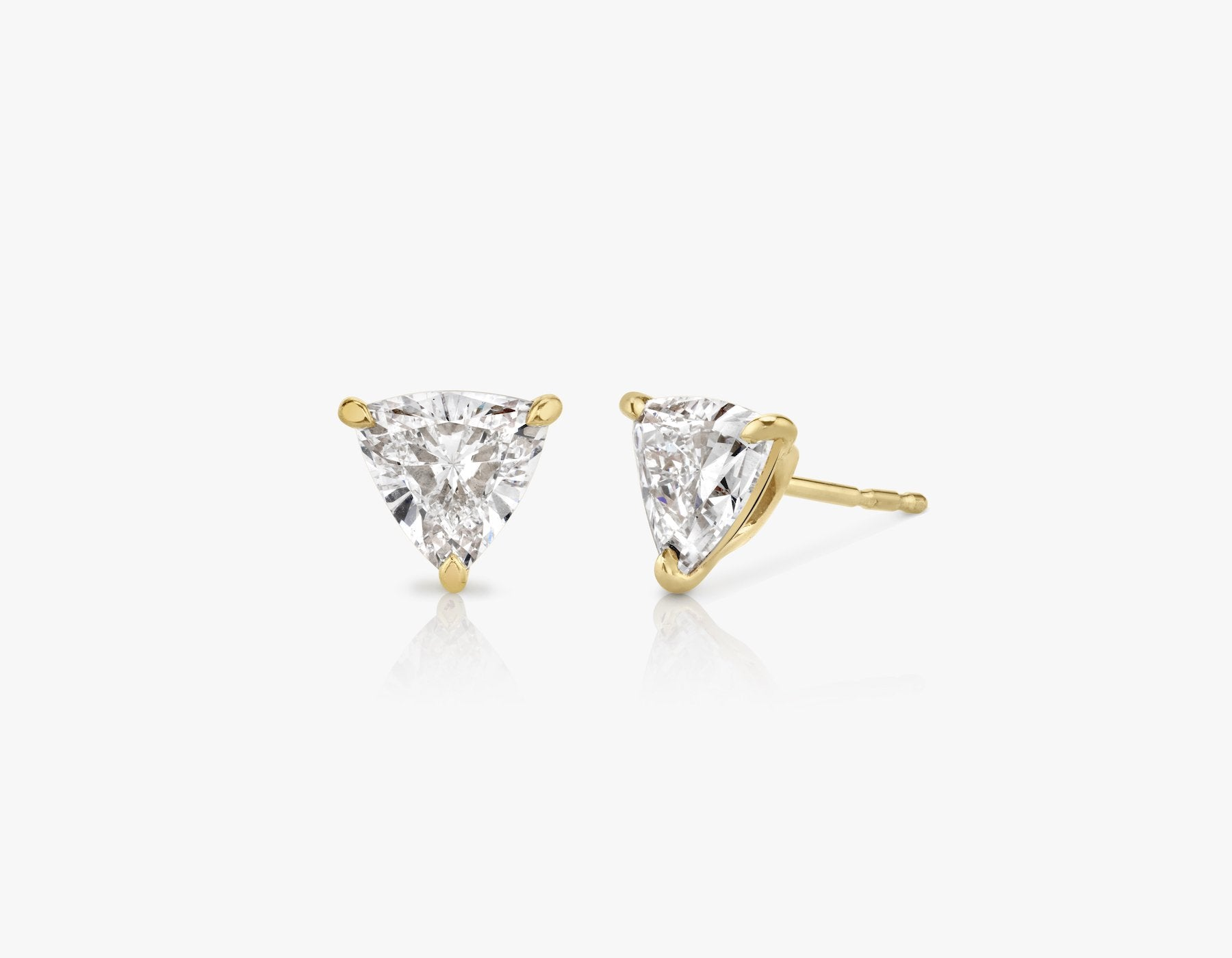 Vrai 14k solid gold Solitaire Trillion Diamond Studs sustainably created triangle diamonds prong set earrings, 14K Yellow Gold