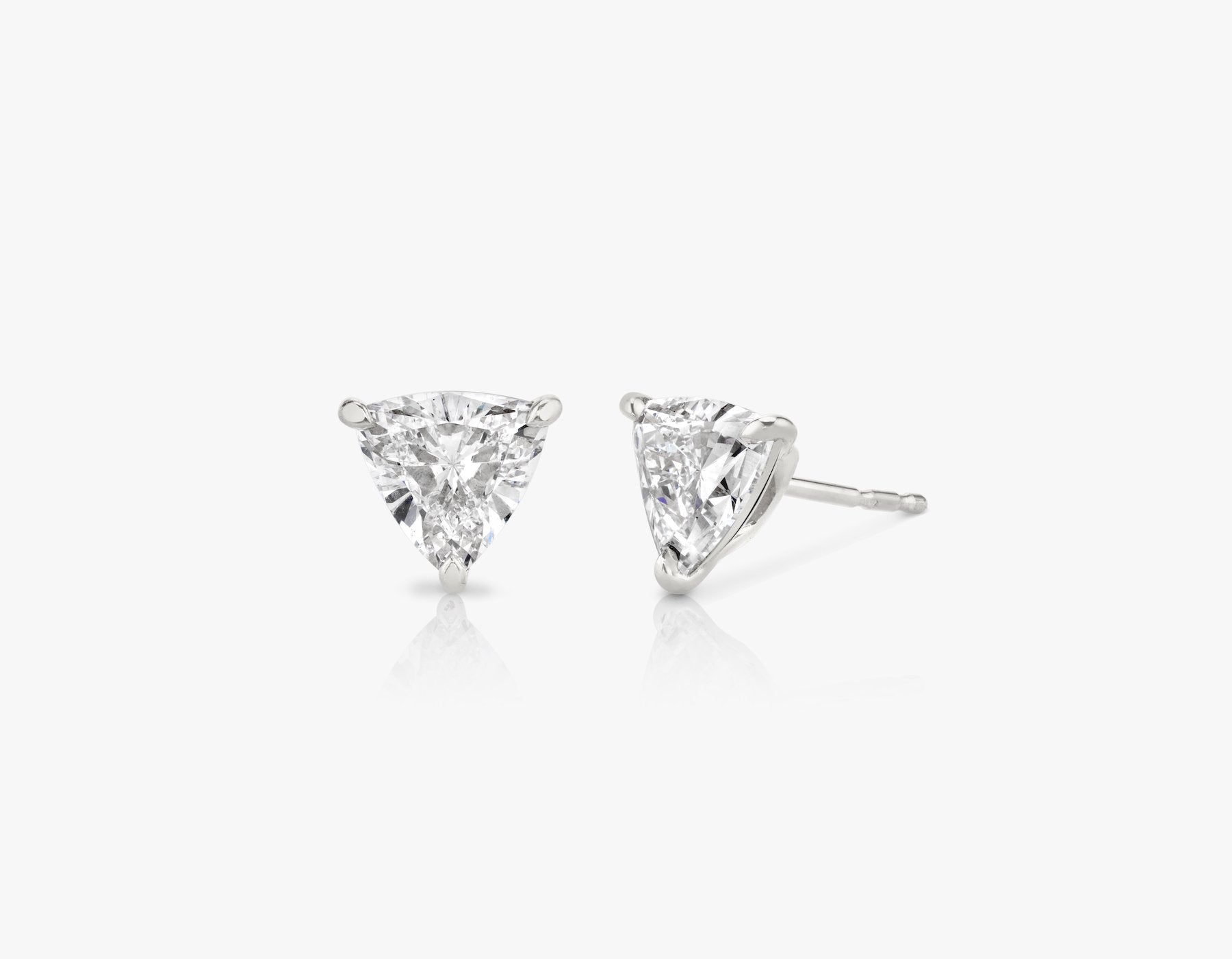 Vrai 14k solid gold Solitaire Trillion Diamond Studs sustainably created triangle diamonds prong set earrings, 14K White Gold