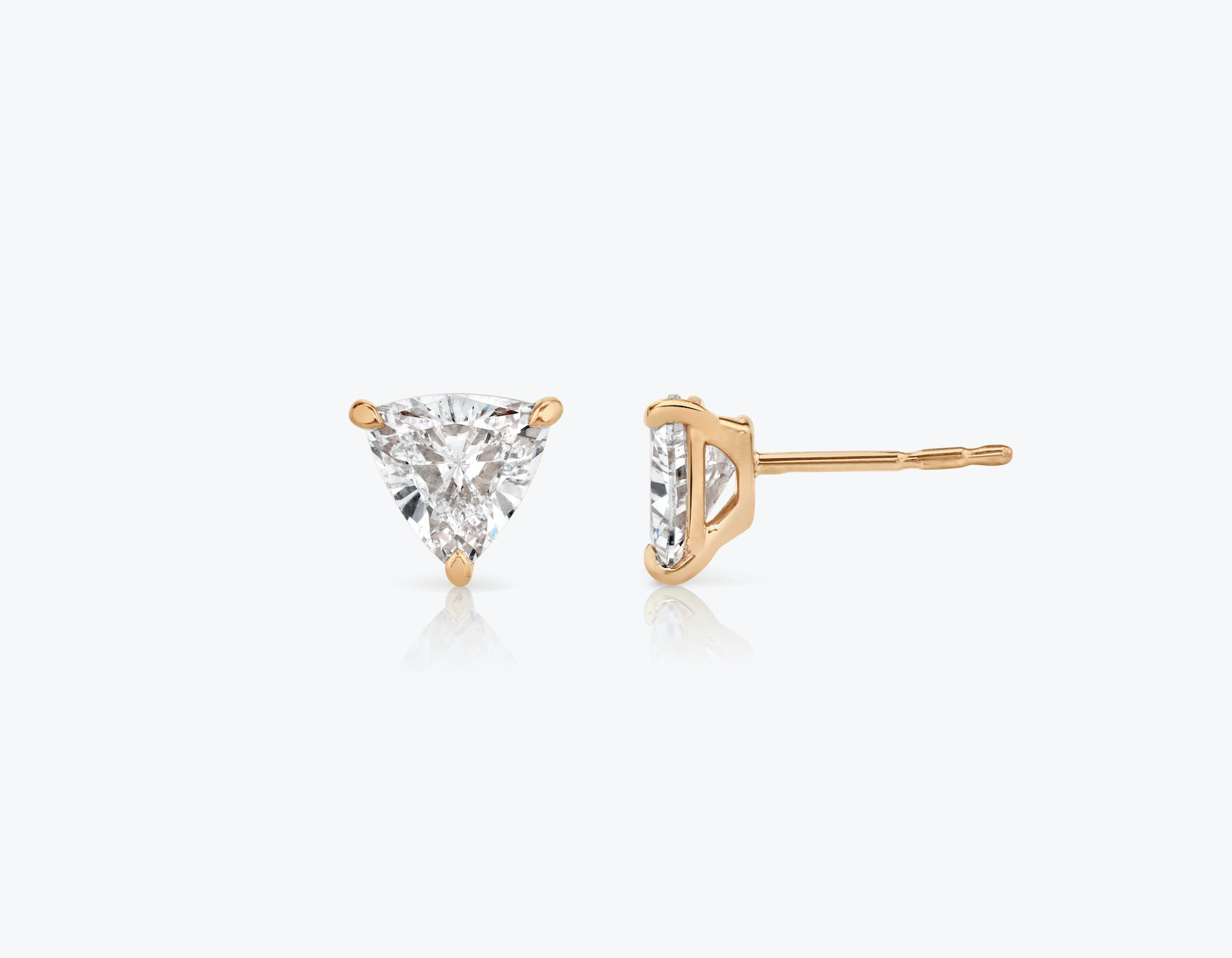 Vrai 14k solid gold Solitaire Trillion Diamond Studs sustainably created triangle diamonds prong set earrings side view, 14K Rose Gold