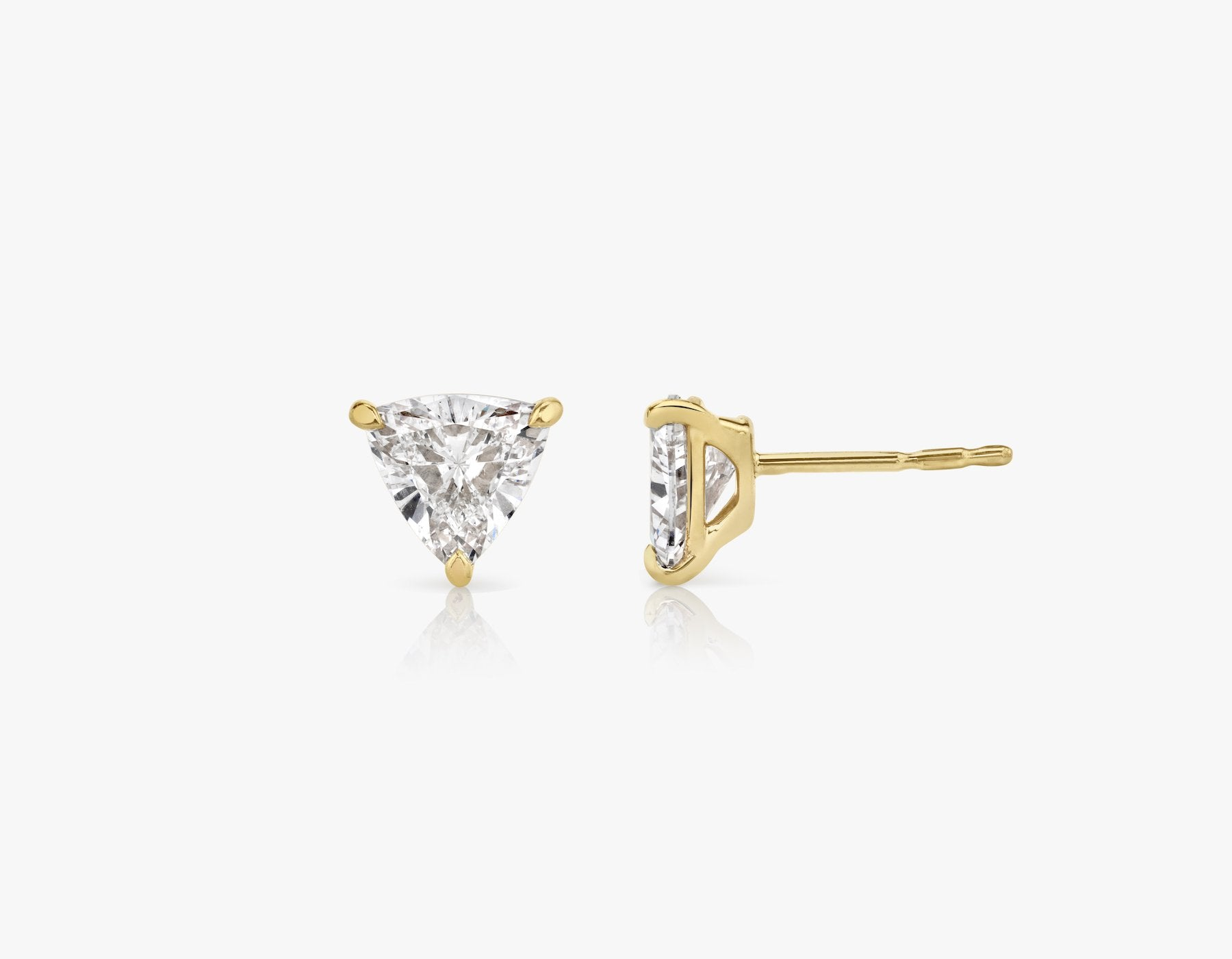 Vrai 14k solid gold Solitaire Trillion Diamond Studs sustainably created triangle diamonds prong set earrings side view, 14K Yellow Gold