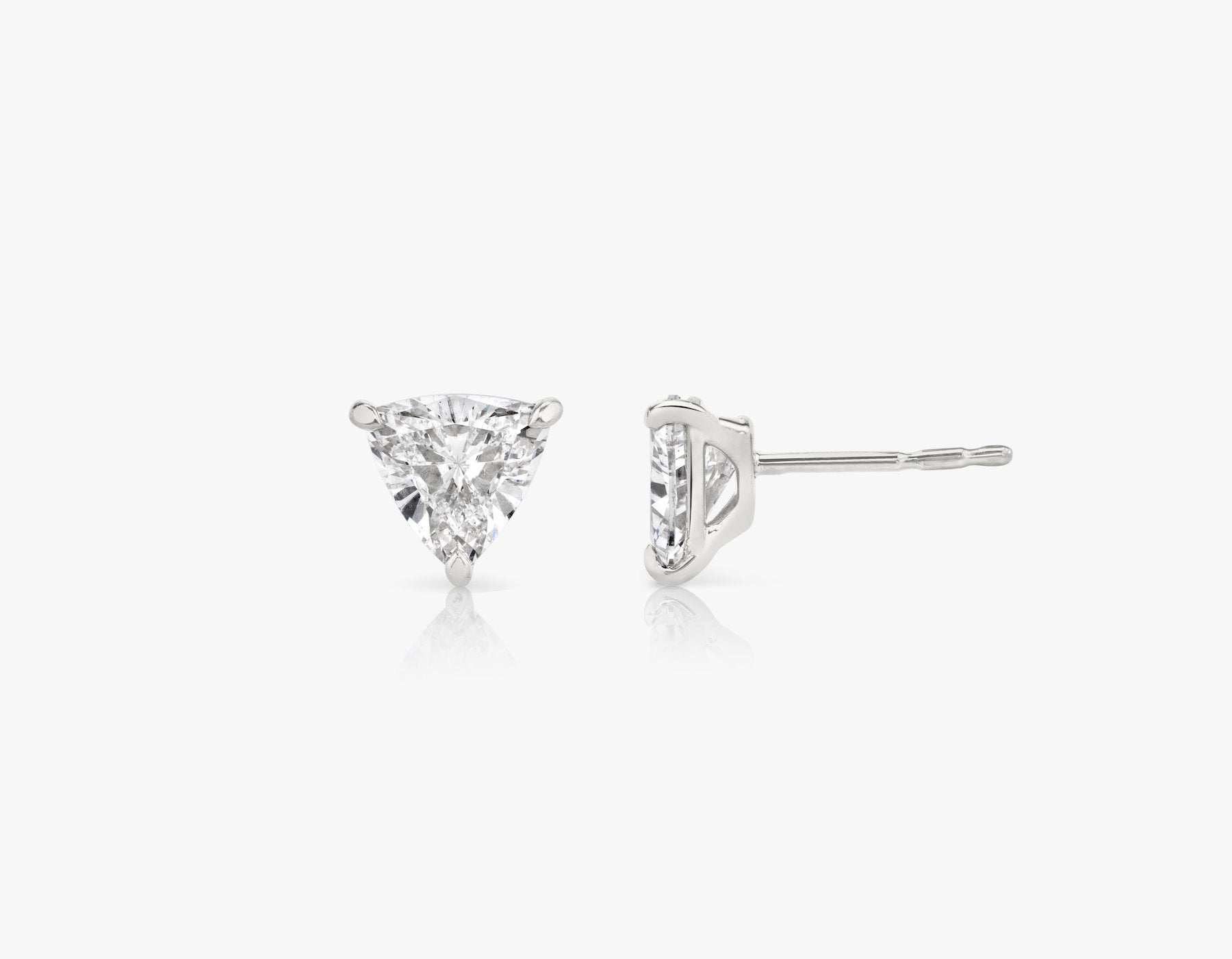 Vrai 14k solid gold Solitaire Trillion Diamond Studs sustainably created triangle diamonds prong set earrings side view, 14K White Gold