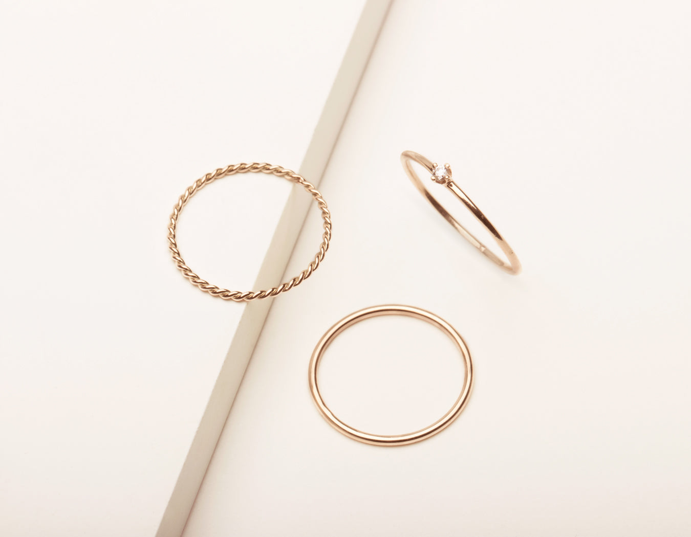 Vrai and Oro simple classic Trio Bundle Rings 14k solid gold Skinny Stacking Round Diamond Stacker and Twist Ring, 14K Rose Gold