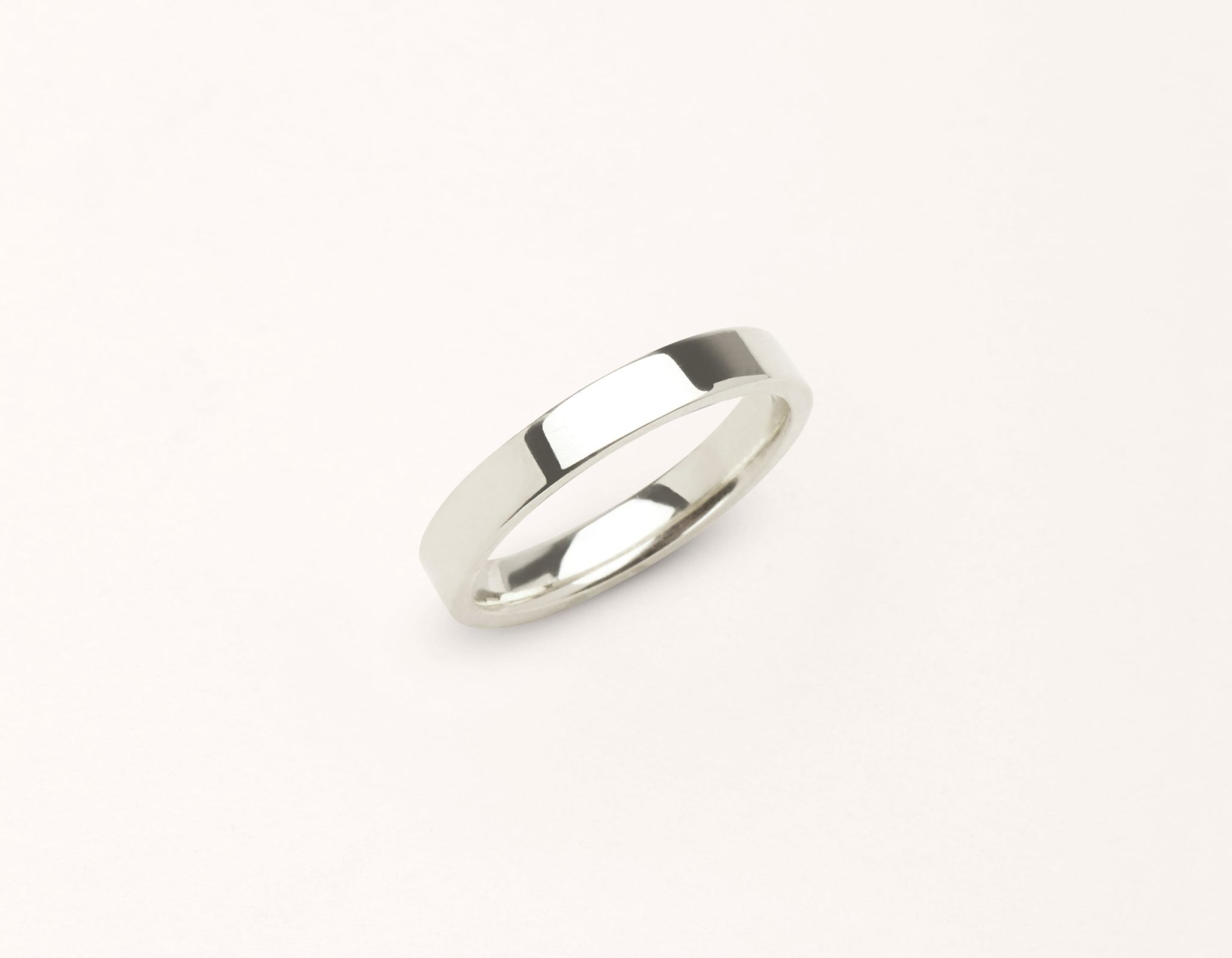 Minimalist 18k solid white gold 3 mm Flat Wedding Band for men and women Vrai and Oro