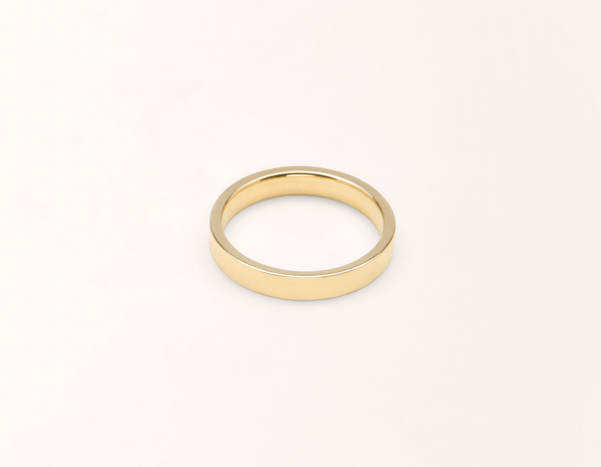 Simple modern 18k solid yellow gold 3 mm Flat men's women's Wedding Band Vrai & Oro