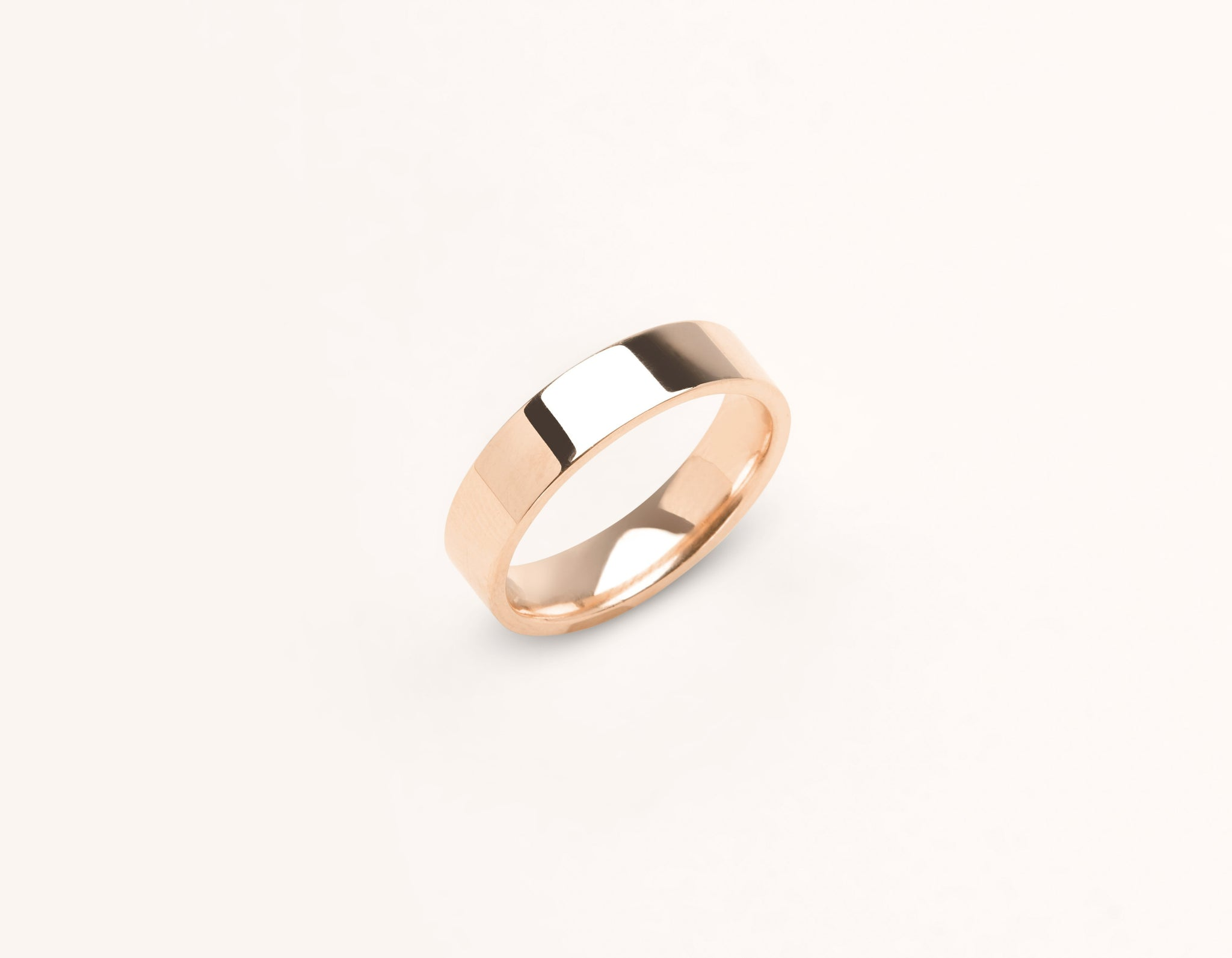 Minimalist 18k solid rose gold 4.5 mm Flat Wedding Band for men and women Vrai and Oro