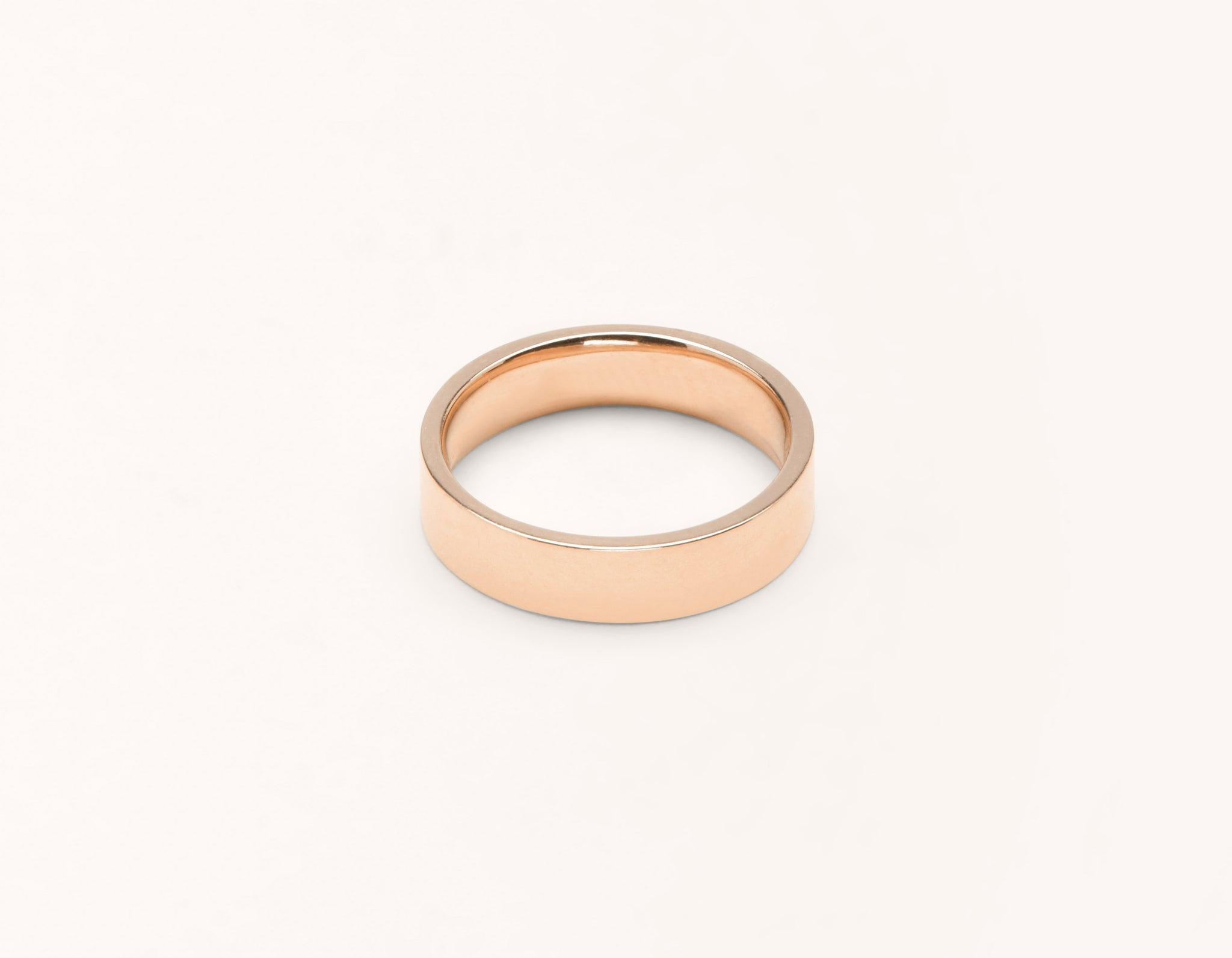 Simple modern 18k solid rose gold 4.5 mm Flat men's women's Wedding Band Vrai & Oro