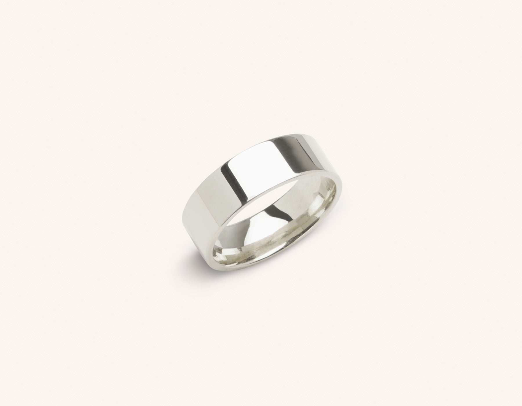 Minimalist platinum 6 mm Flat Wedding Band for men and women Vrai and Oro